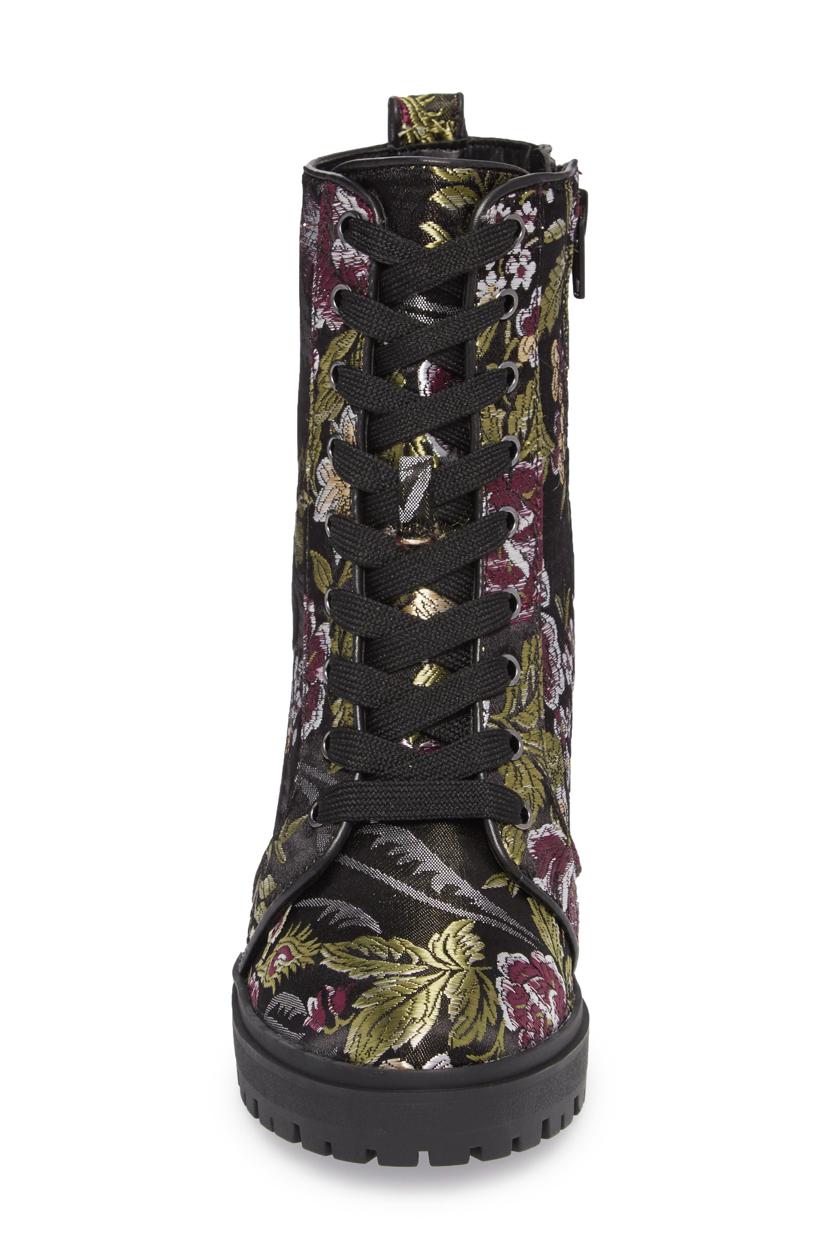 Laurie Platform Bootie,                             Alternate thumbnail 4, color,                             Black Floral Fabric