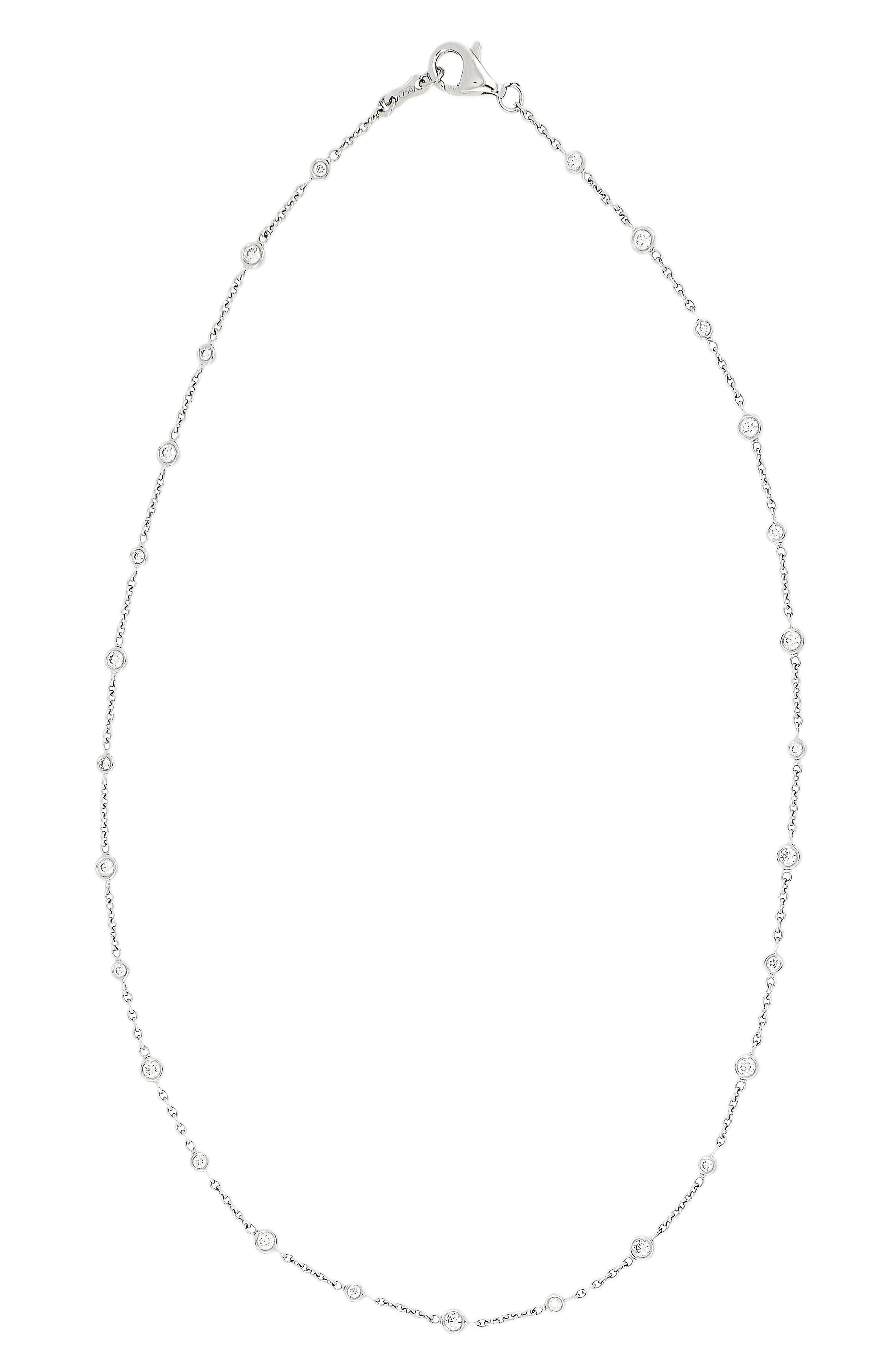 Diamond Station Necklace,                             Main thumbnail 1, color,                             White Gold