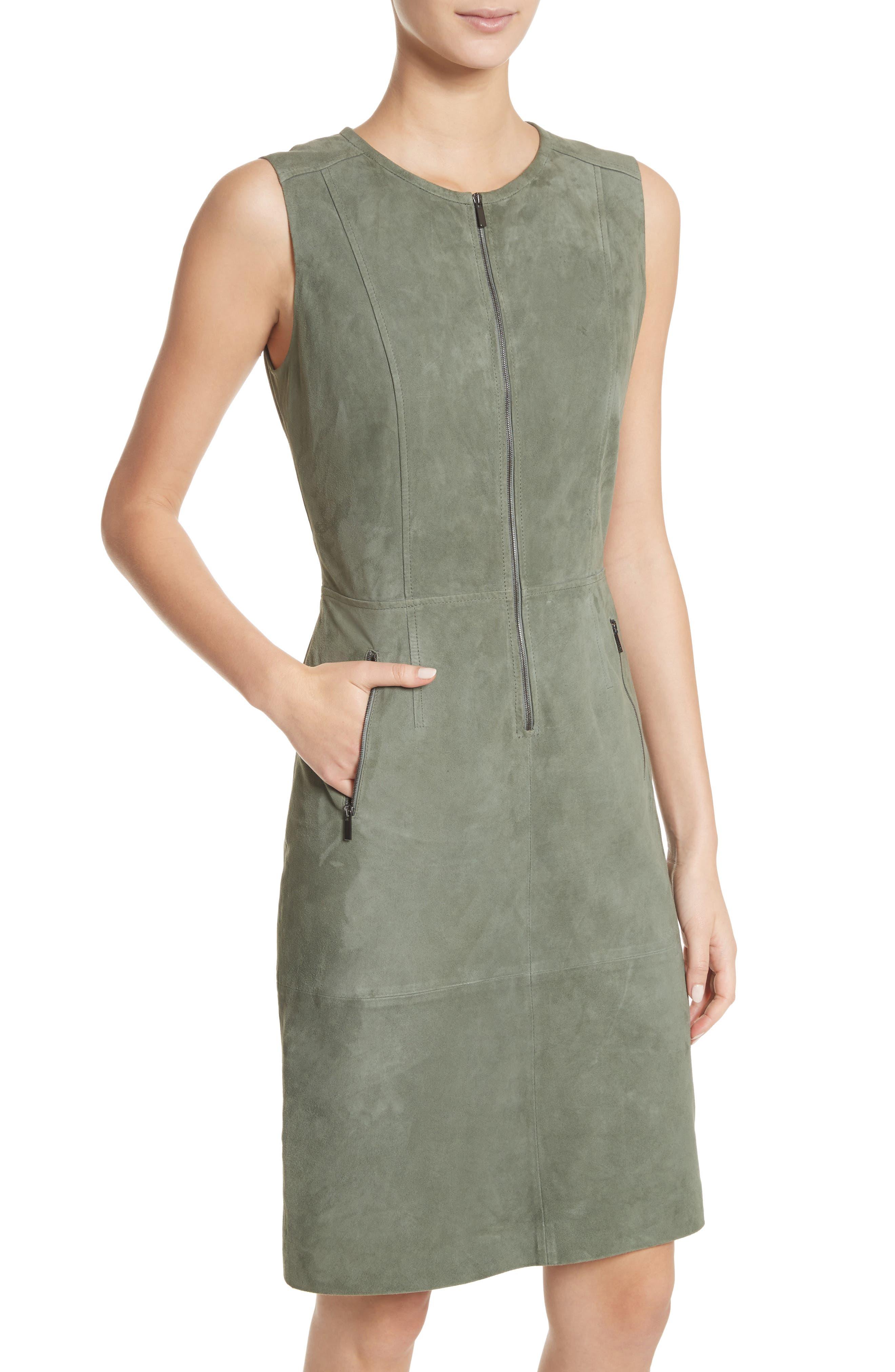 Alternate Image 4  - St. John Collection Suede Dress