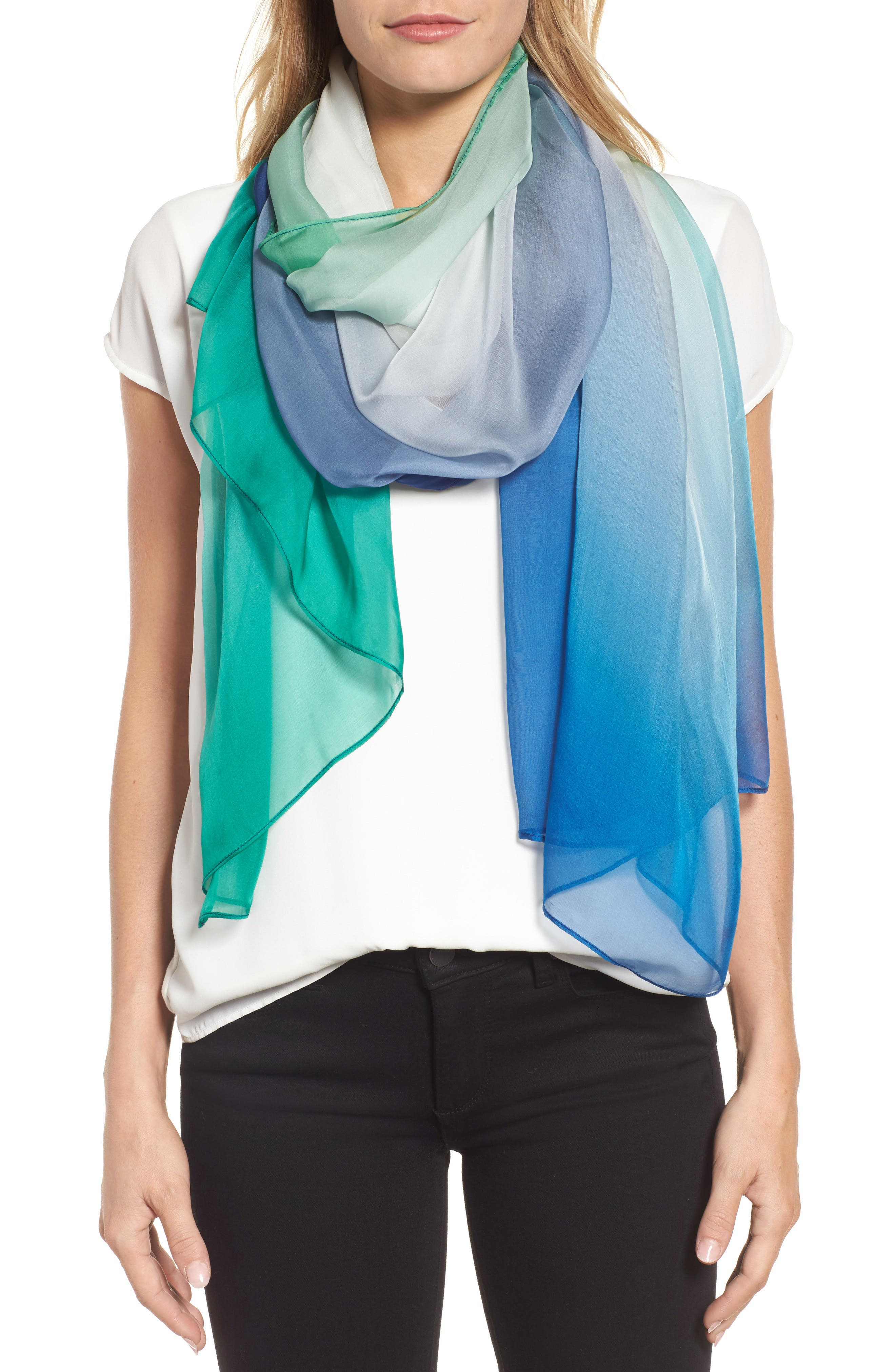 Silk Chiffon Oblong Scarf,                             Main thumbnail 1, color,                             Teal Ombre Whisper