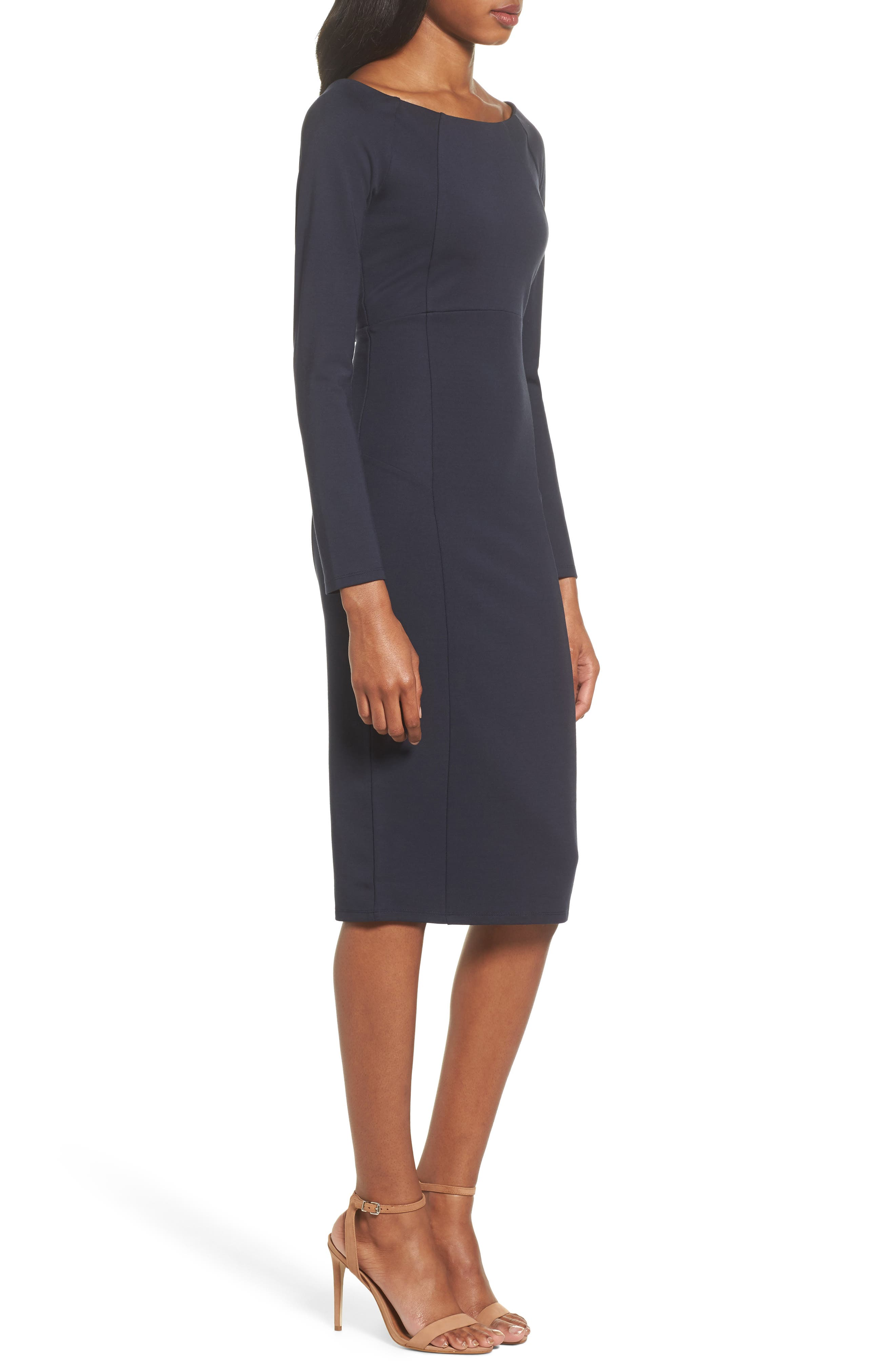 Maile Sheath Dress,                             Alternate thumbnail 3, color,                             Navy
