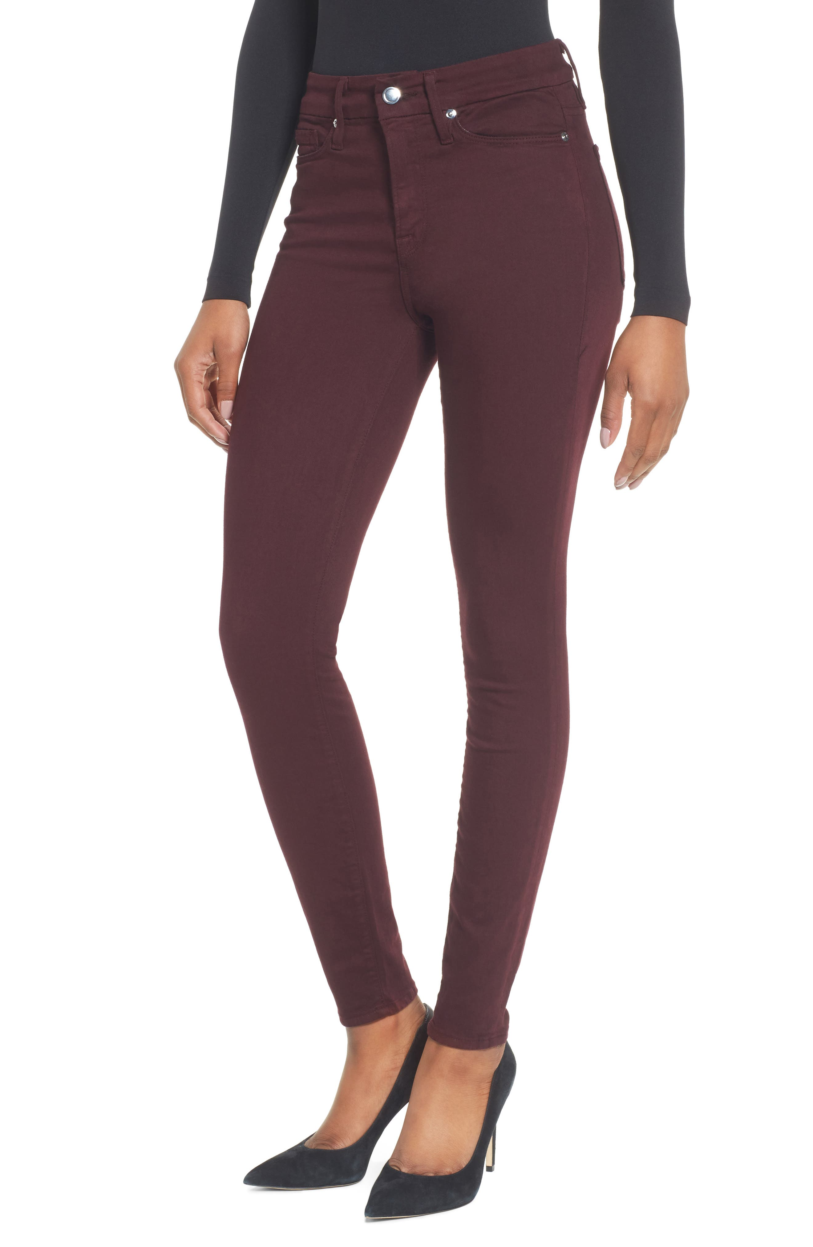 Alternate Image 1 Selected - Good American Good Legs High Waist Skinny Jeans (Burgundy 001) (Regular & Plus Size)