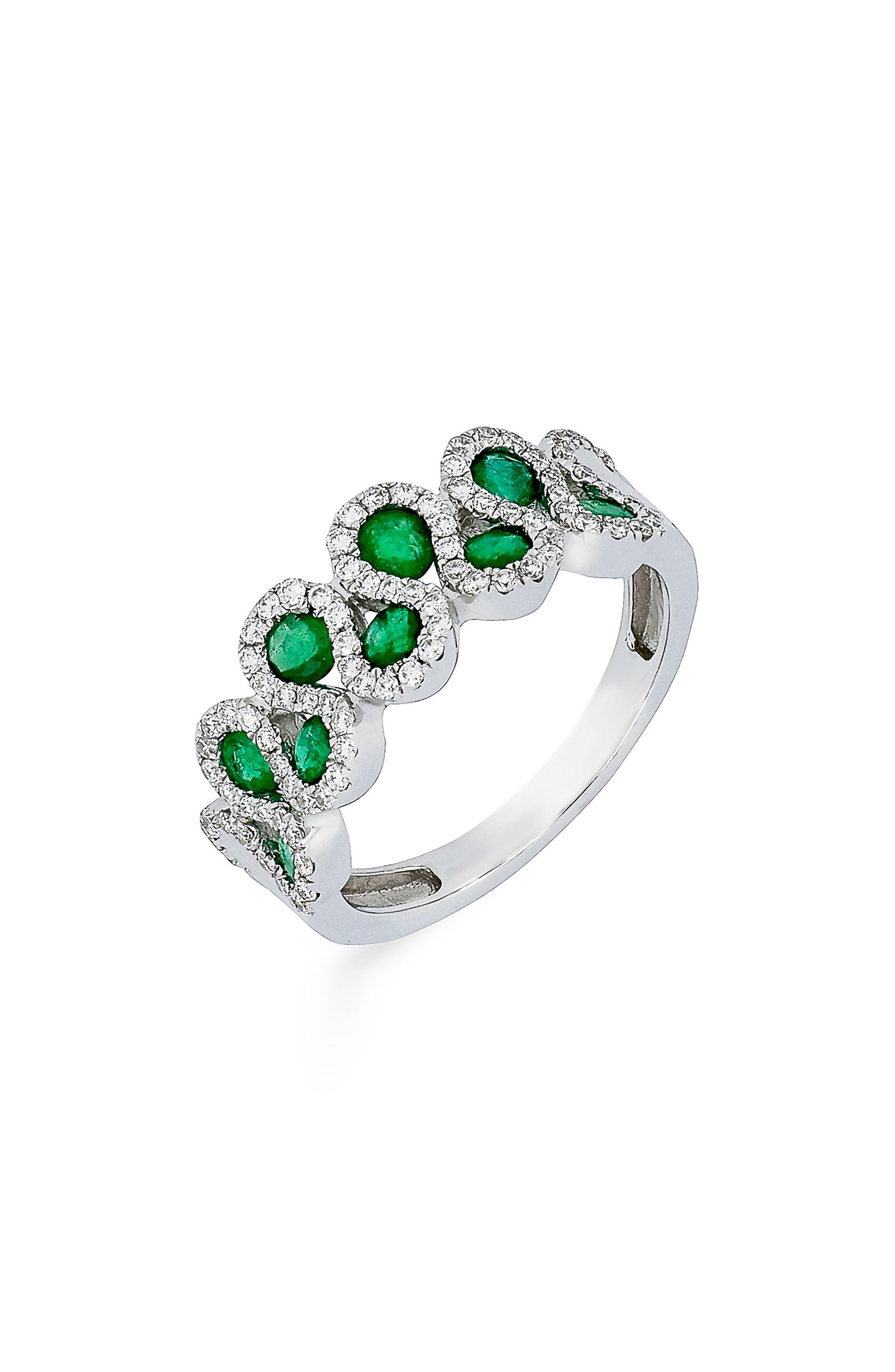 Diamond & Emerald Ring,                         Main,                         color, White Gold