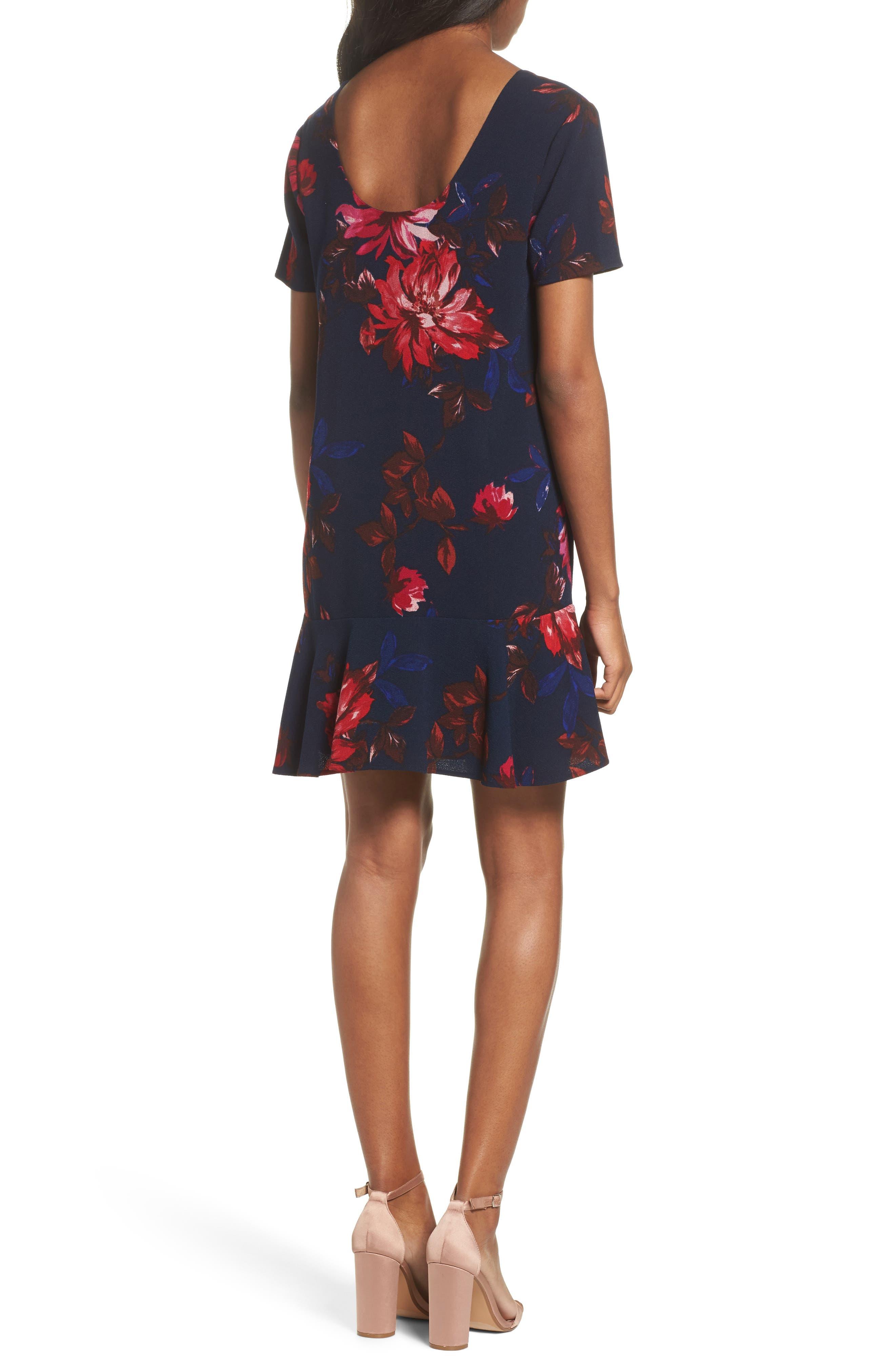 Floral Shift Dress,                             Alternate thumbnail 2, color,                             Navy Floral