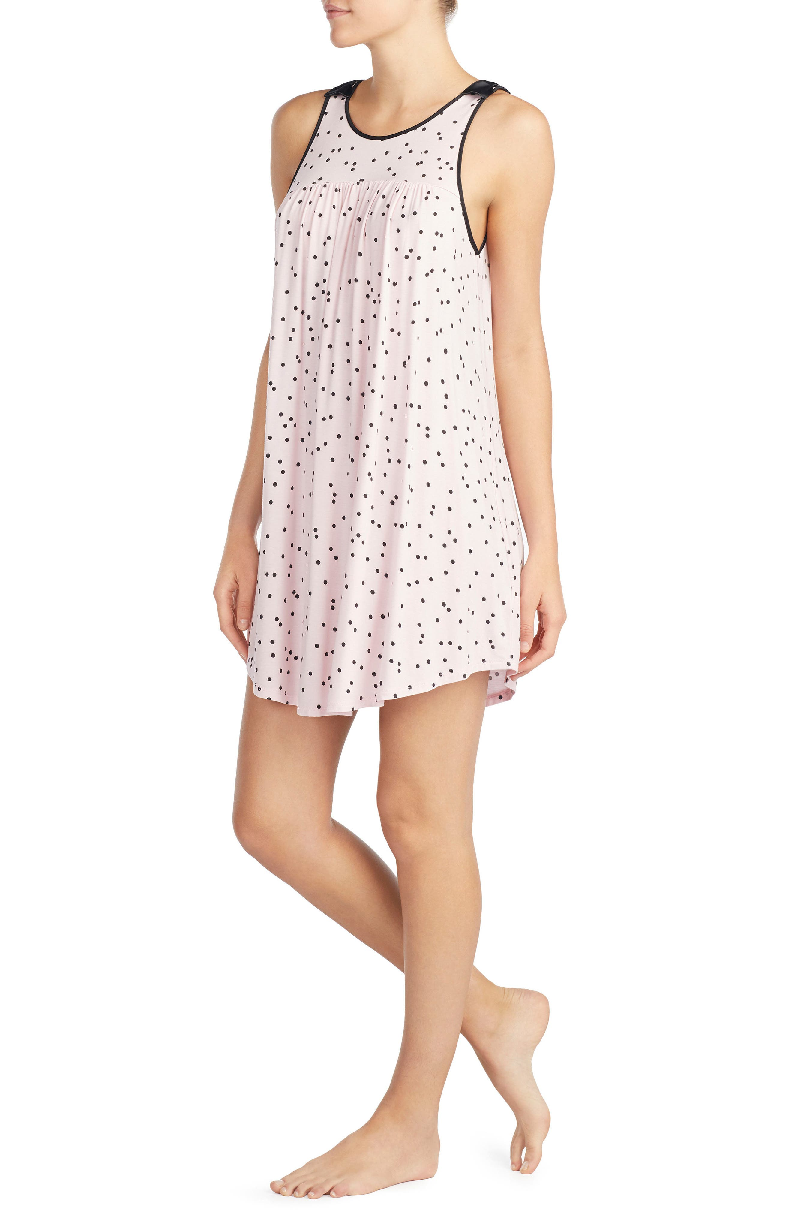 jersey chemise,                             Alternate thumbnail 3, color,                             Scattered Dot Pink