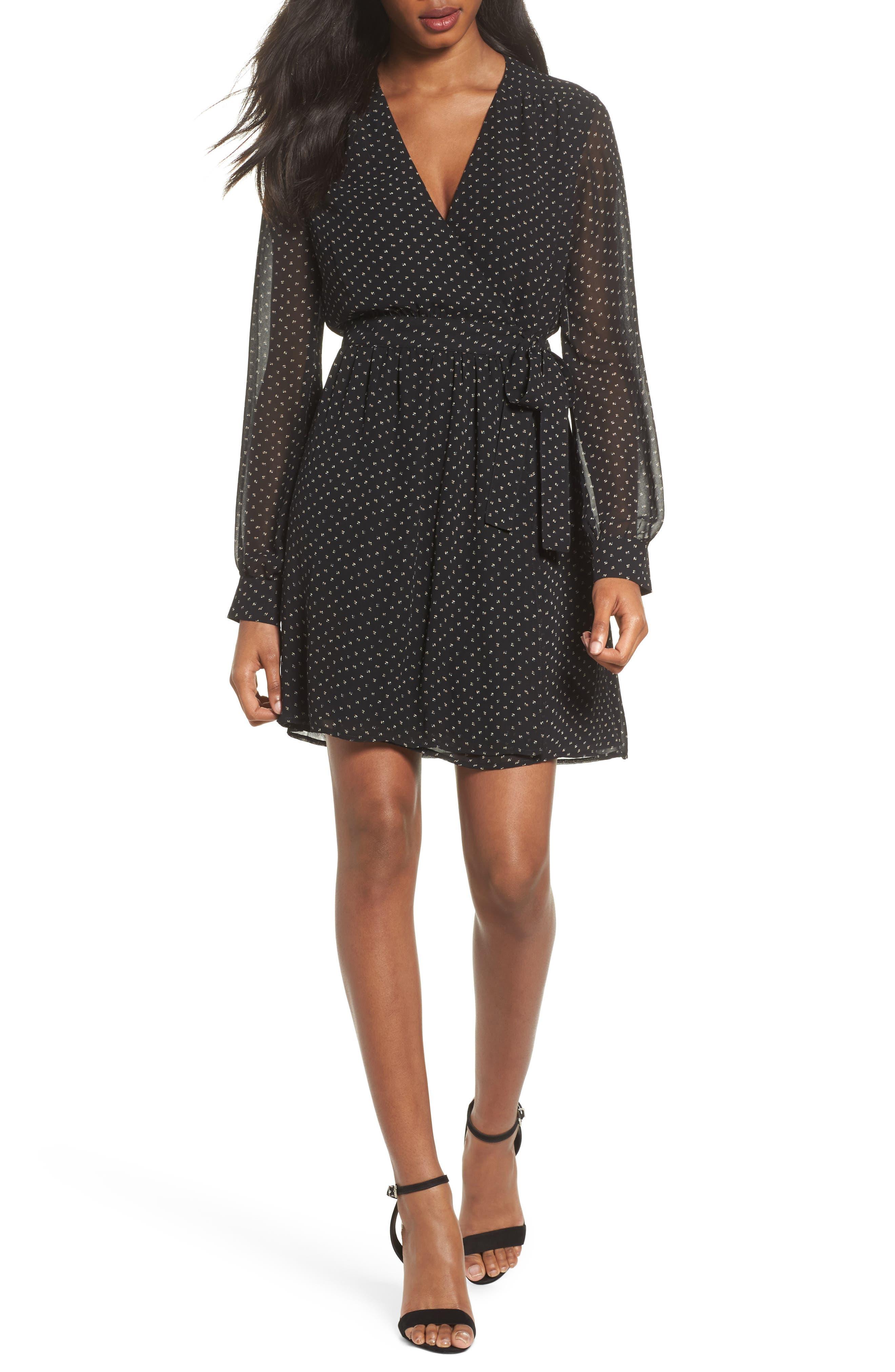 Wrap Dress,                         Main,                         color, Black Ditzy Dot