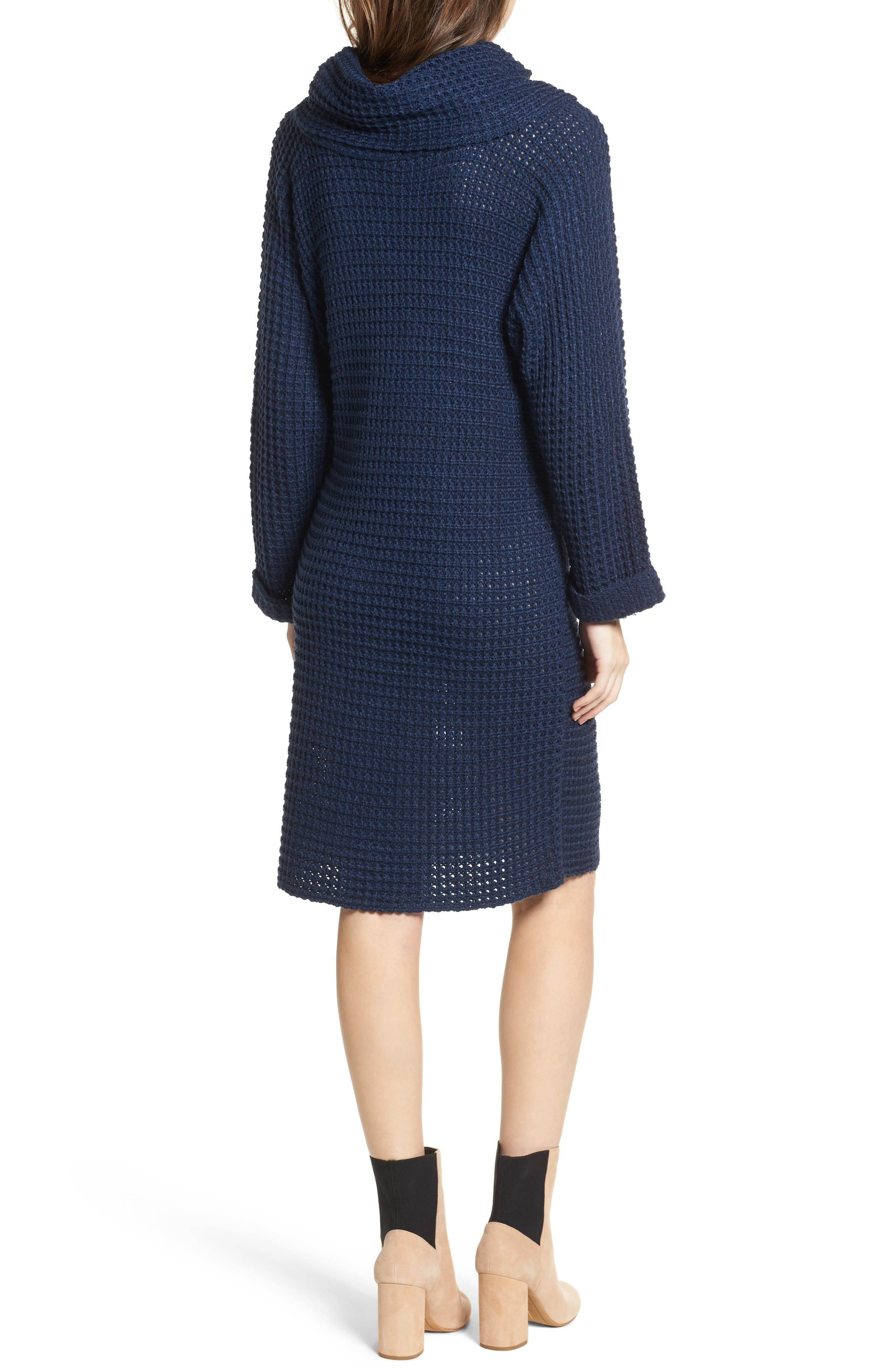 Turtleneck Sweater Dress,                             Alternate thumbnail 2, color,                             Navy