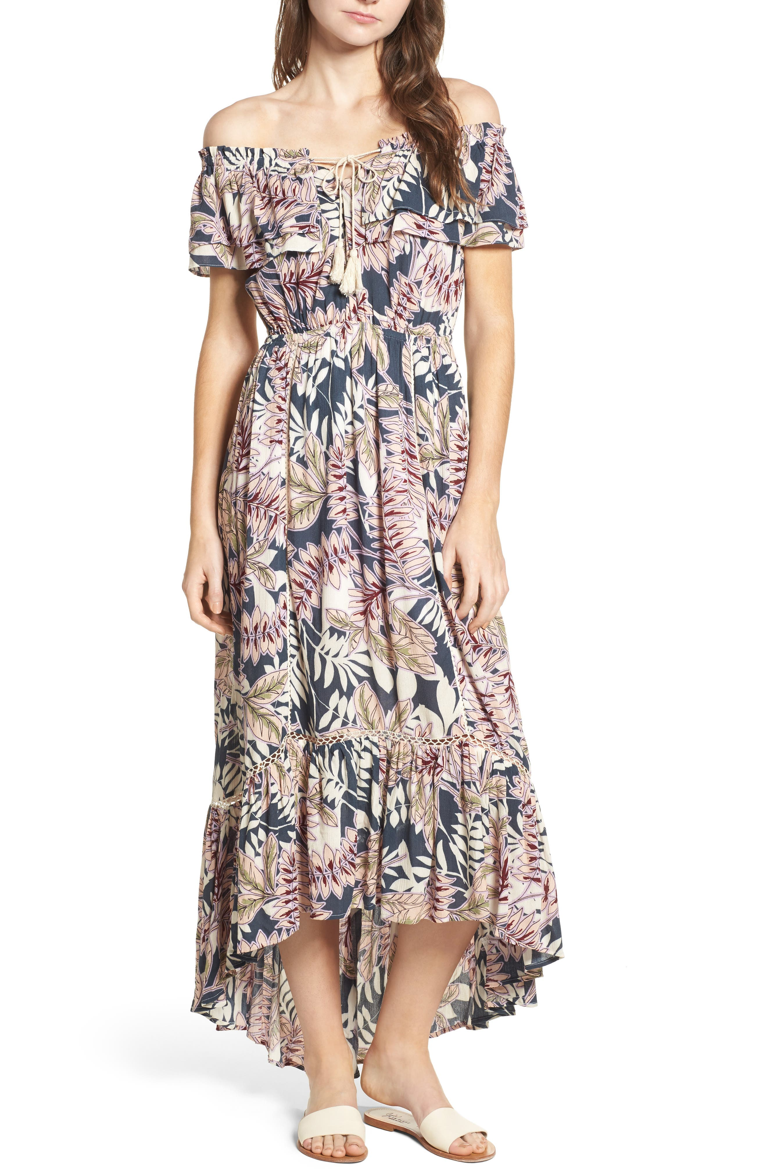Alternate Image 1 Selected - Lost + Wander Maui Off the Shoulder High/Low Maxi Dress
