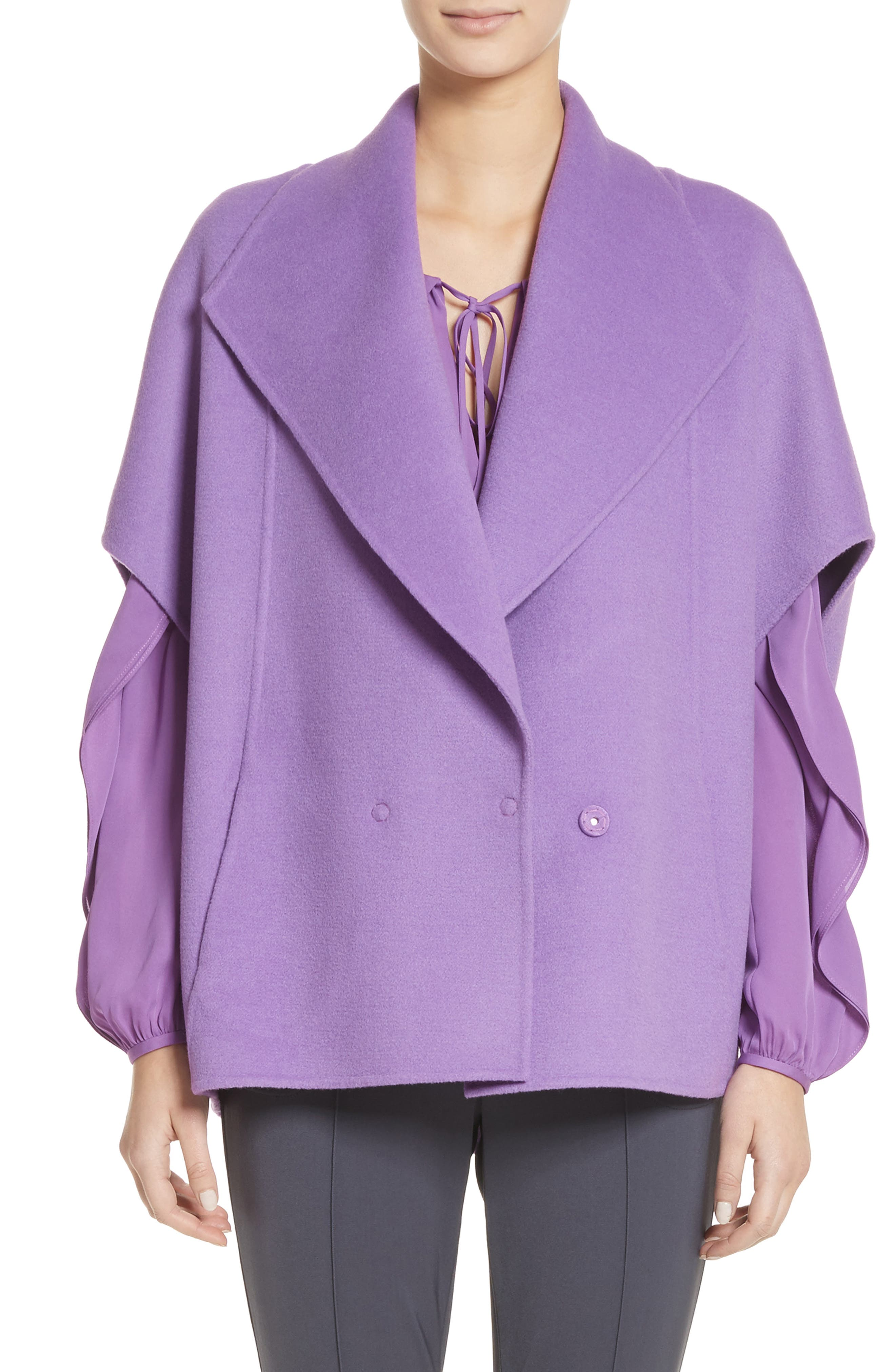 Double Face Wool & Angora Blend Jacket,                             Main thumbnail 1, color,                             Dark Orchid