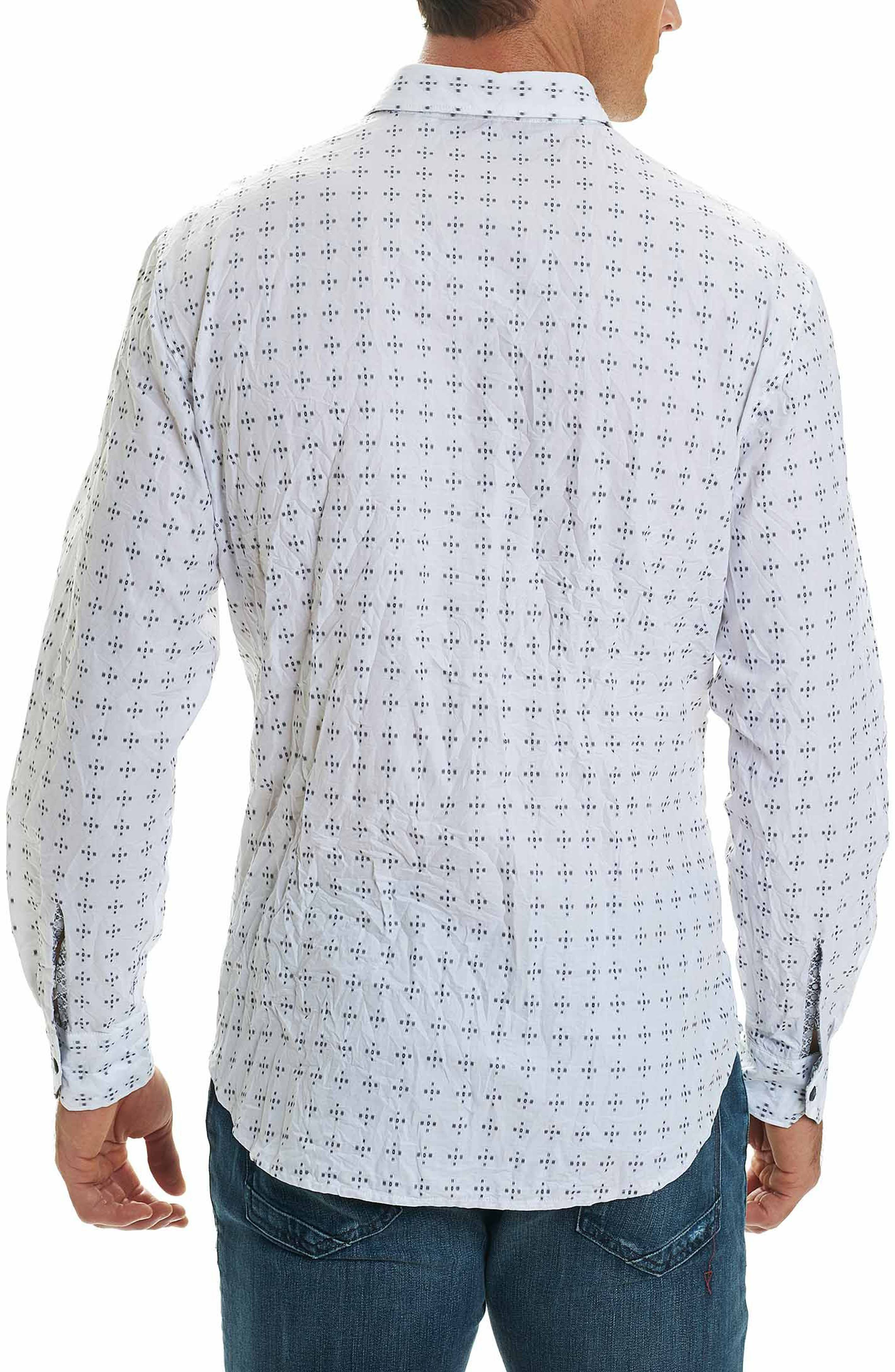 Steger Classic Fit Print Sport Shirt,                             Alternate thumbnail 2, color,                             White