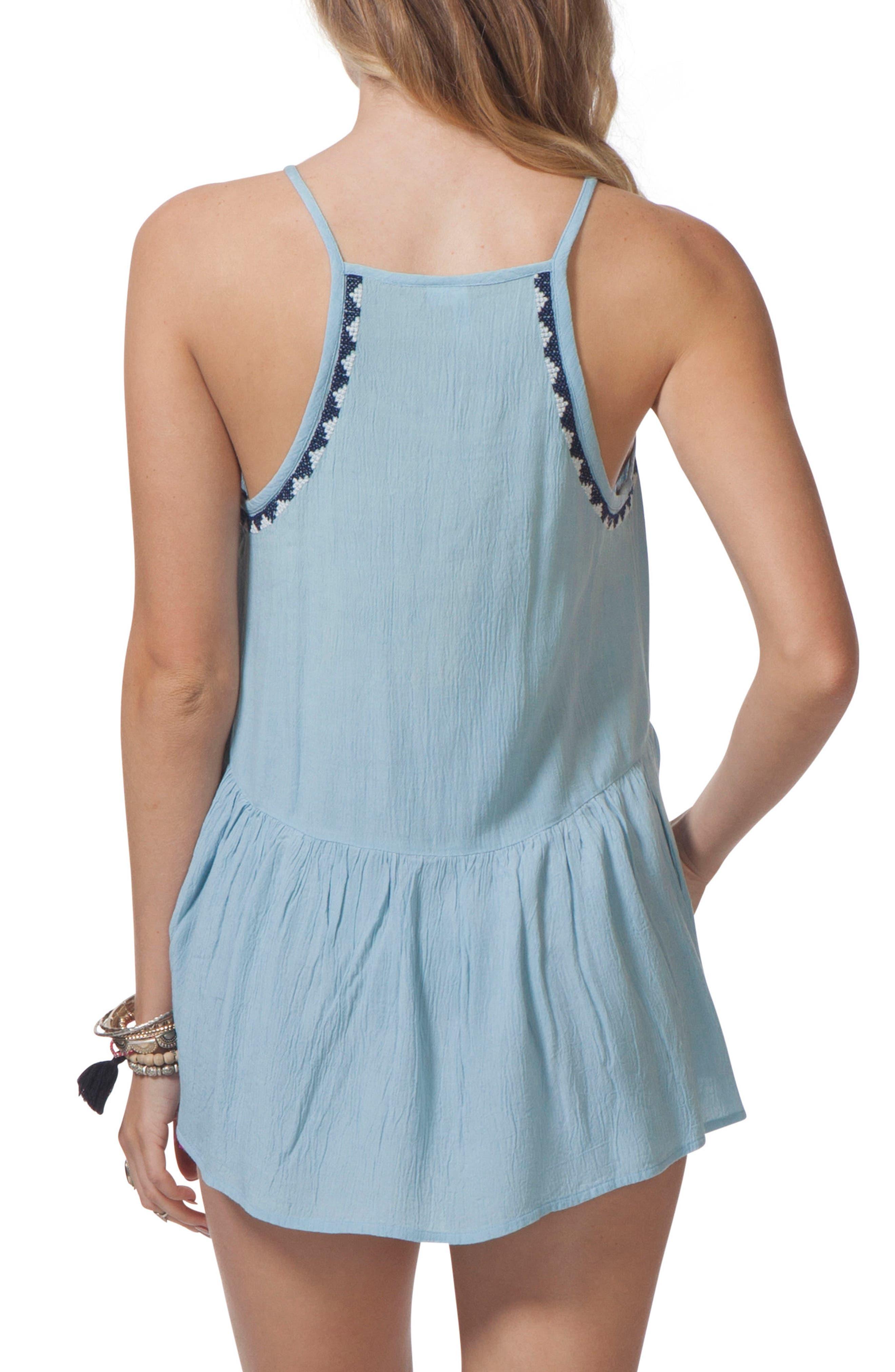 Serena Embroidered Tank,                             Alternate thumbnail 2, color,                             Light Blue