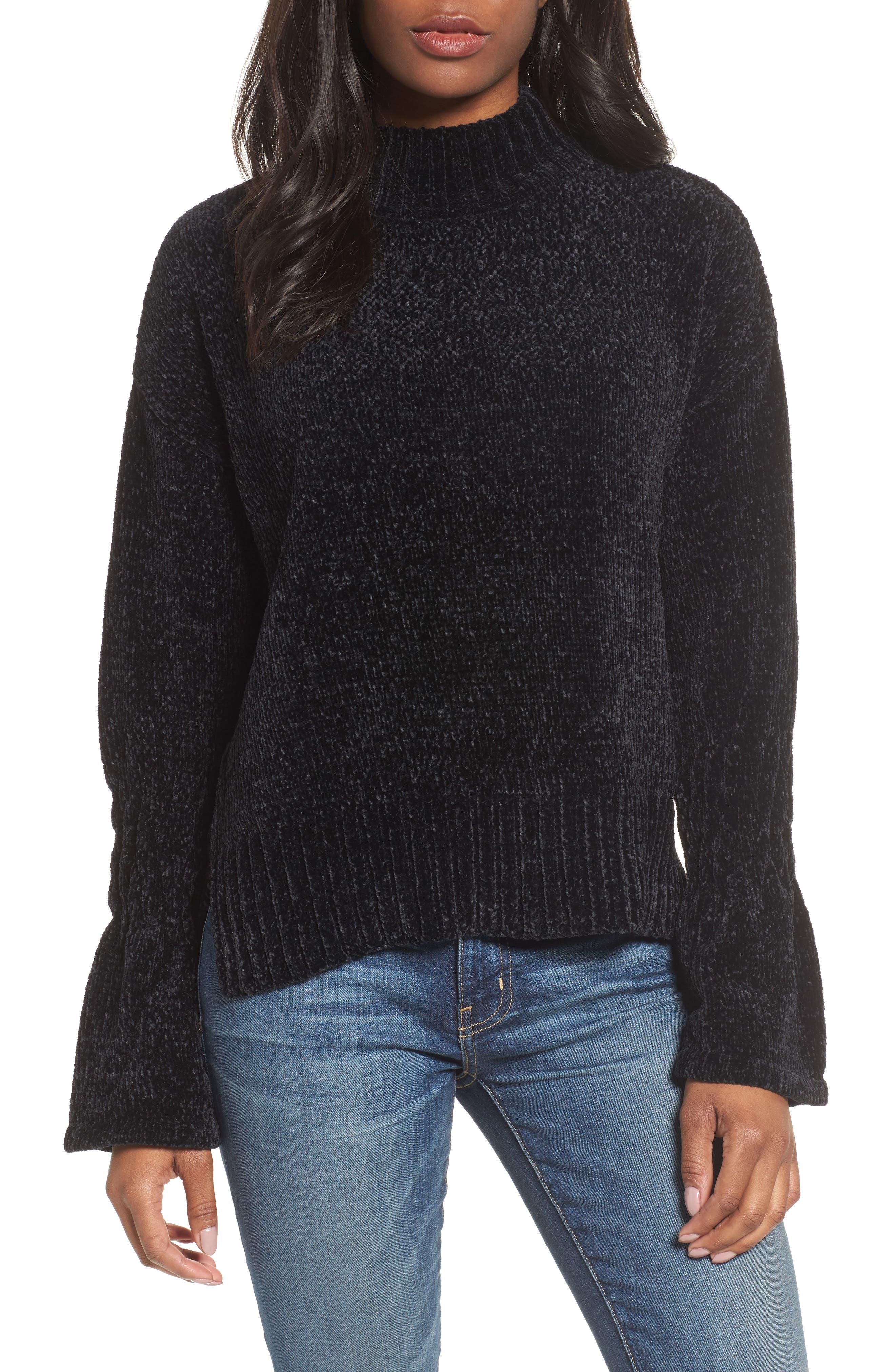 Bell Cuff Sweater,                         Main,                         color, Black