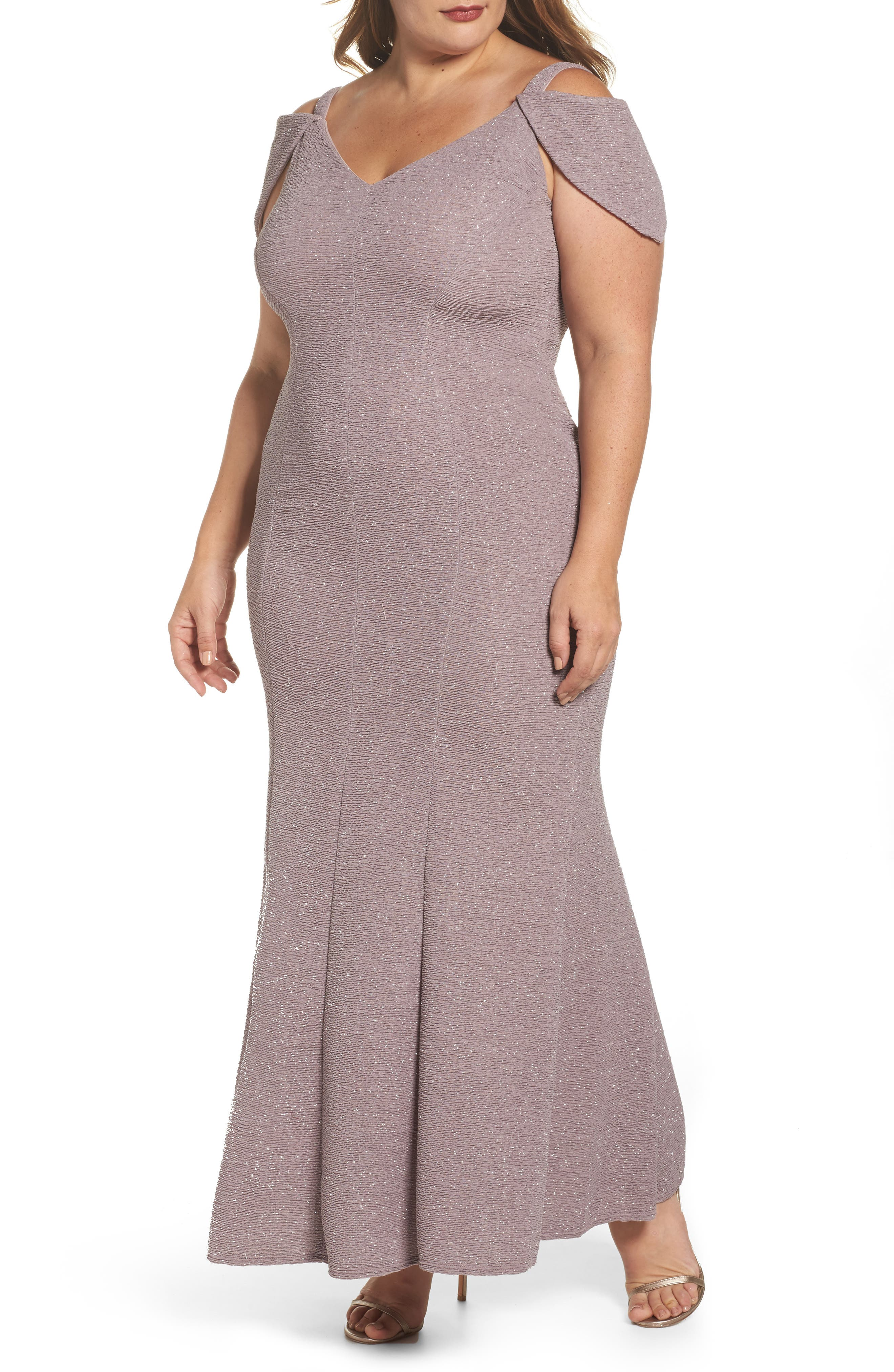 Main Image - Morgan & Co. Cold Shoulder Glitter Knit Gown (Plus Size)