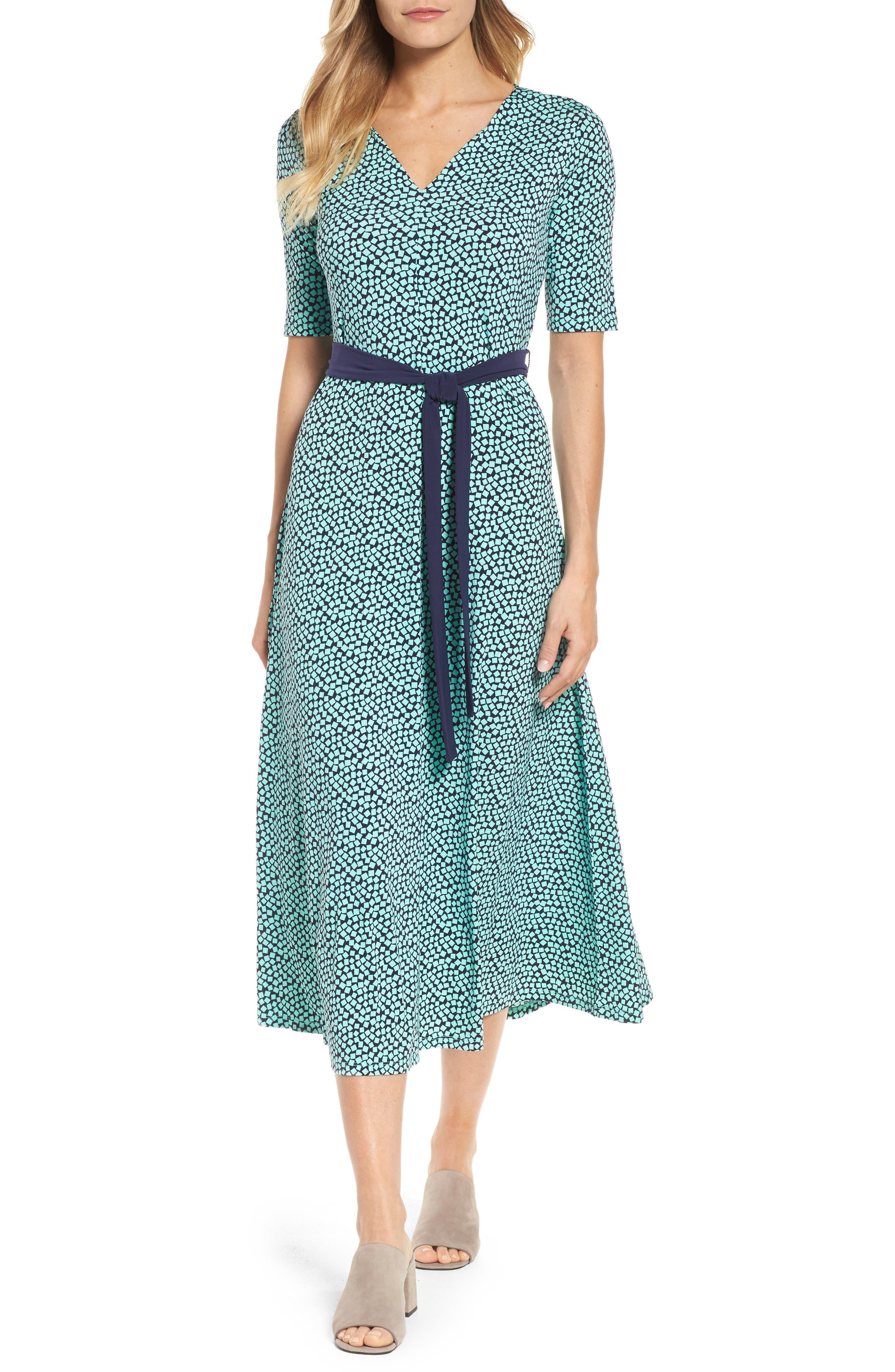 Belted Cube Print Midi Dress,                         Main,                         color, Sea Glass