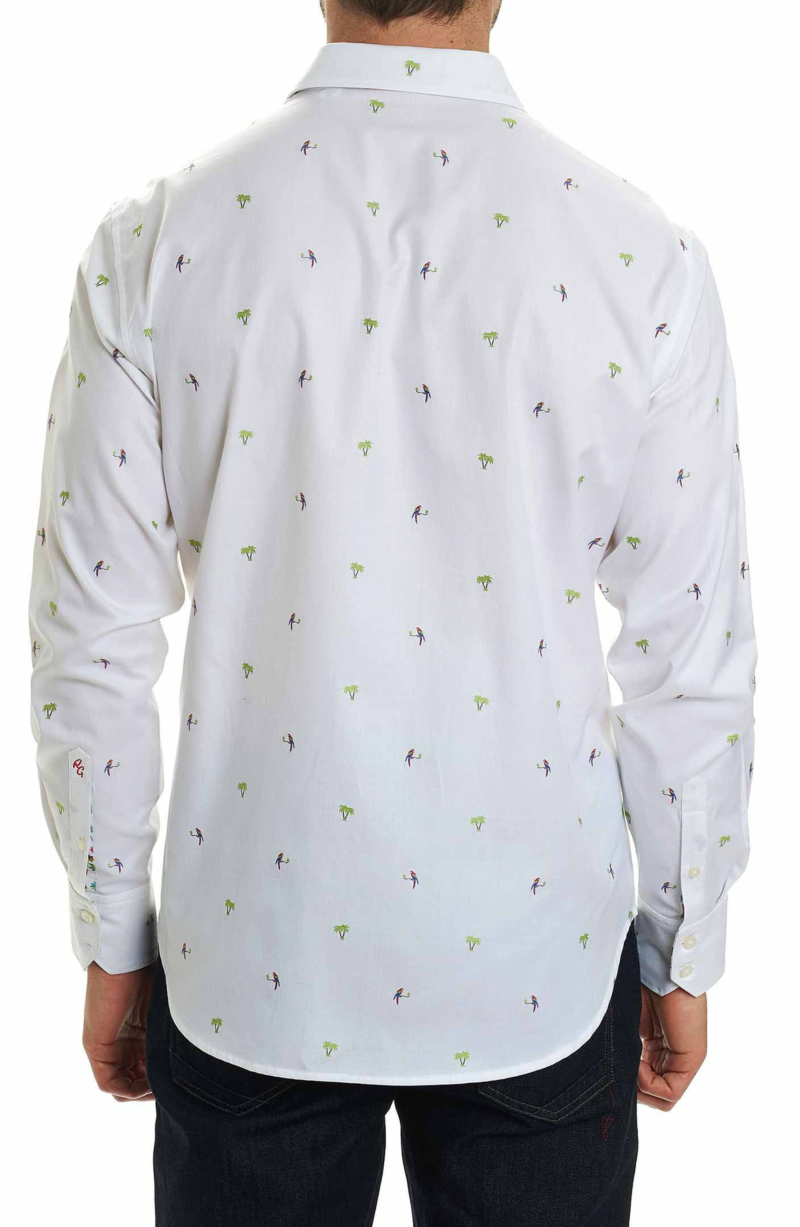 Palm Leaves Classic Fit Sport Shirt,                             Alternate thumbnail 2, color,                             White