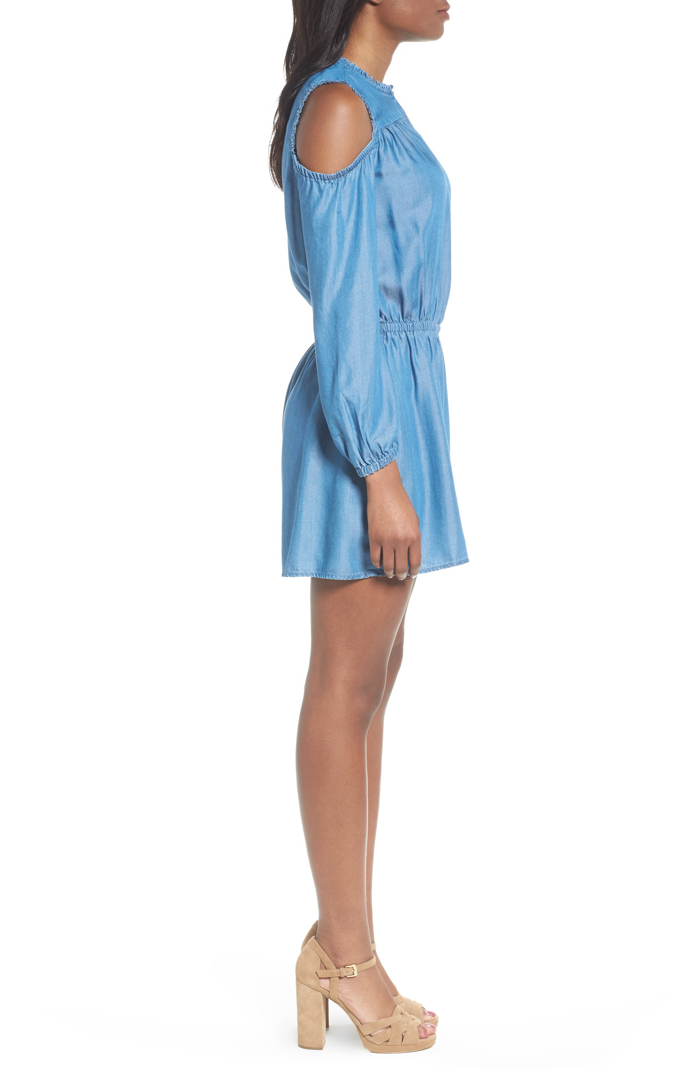 Cold Shoulder Chambray Romper,                             Alternate thumbnail 3, color,                             Light Cadet Wash