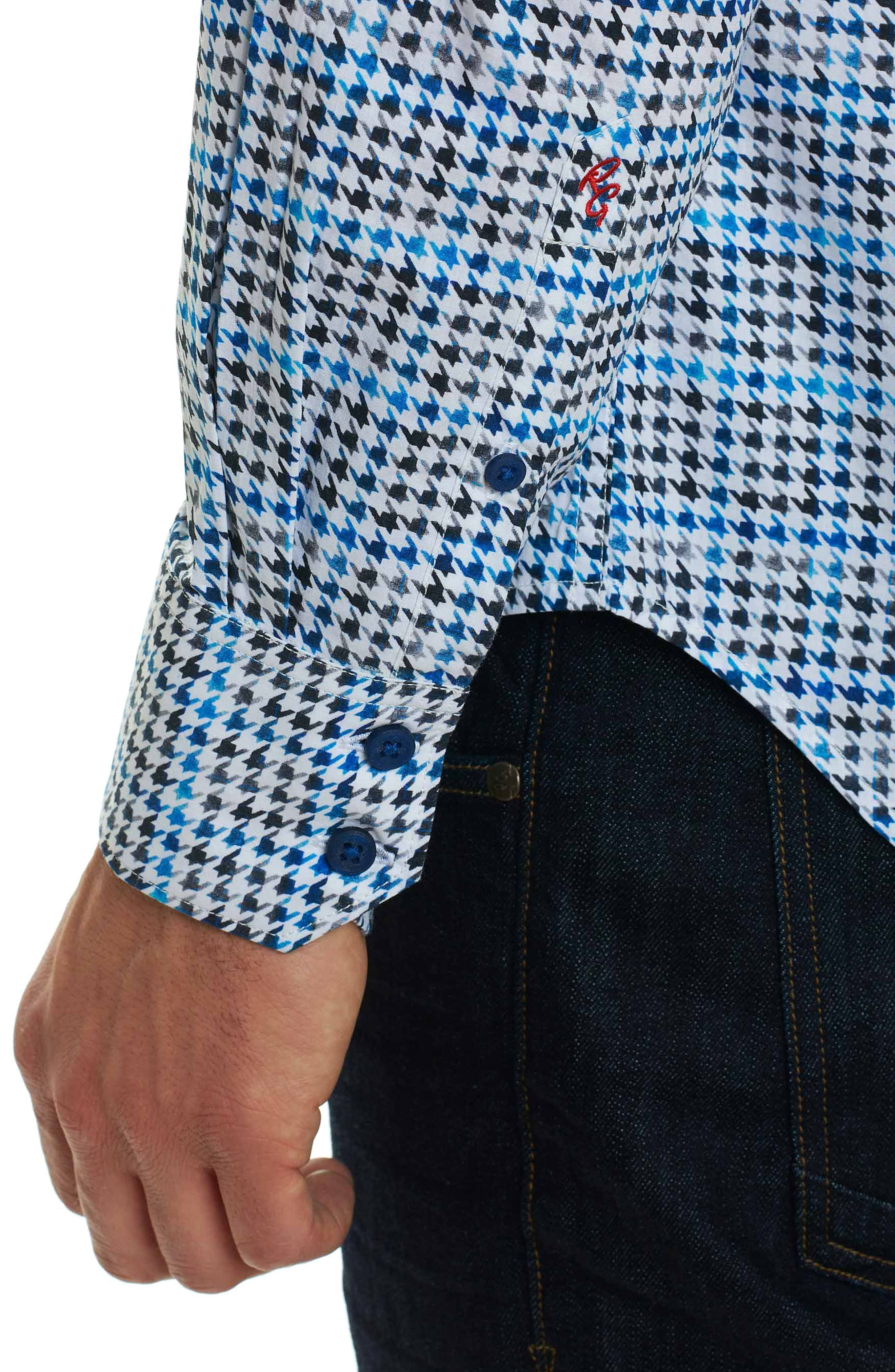 Rolf Classic Fit Houndstooth Print Sport Shirt,                             Alternate thumbnail 5, color,                             White