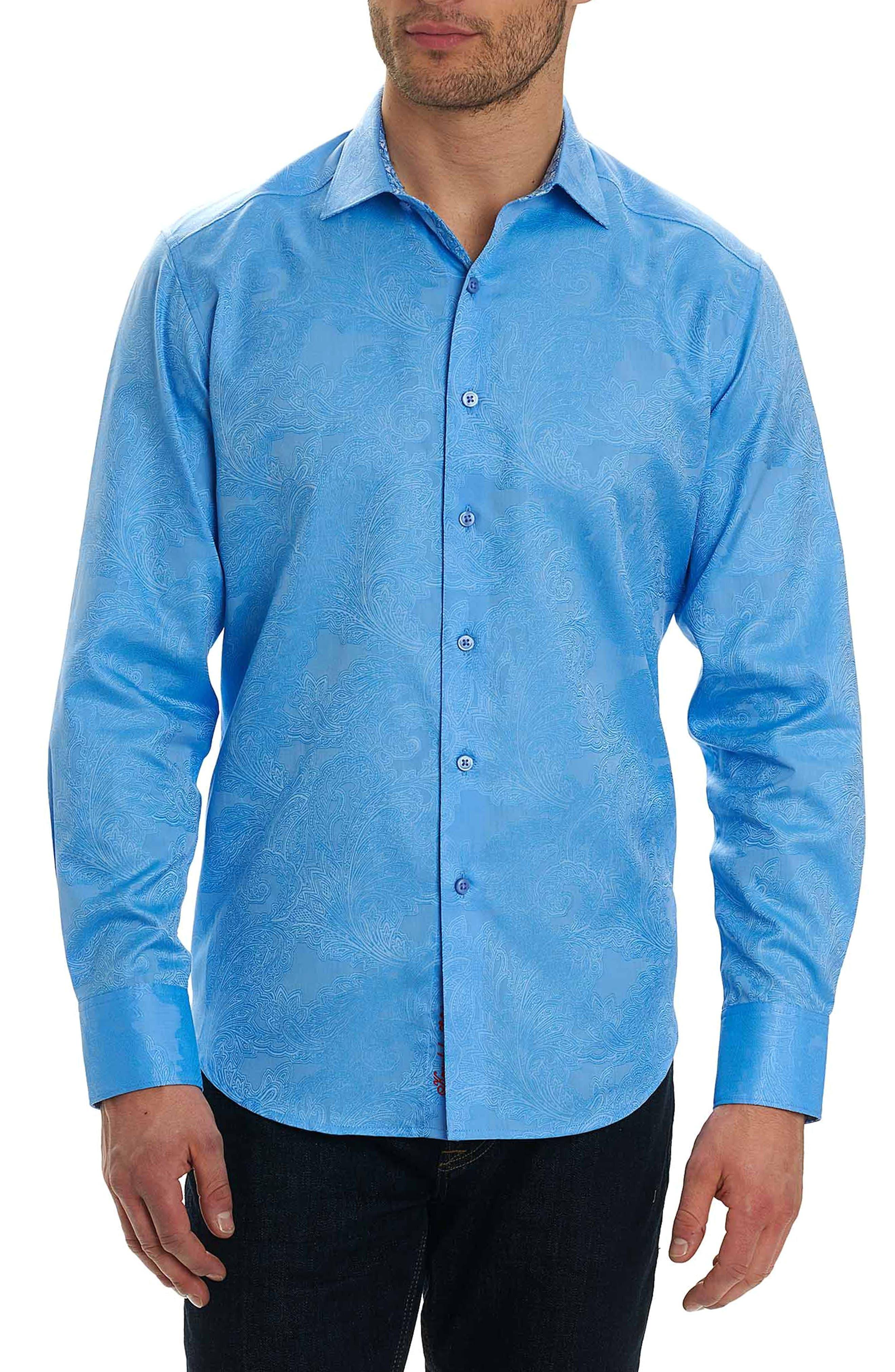 Rosendale Classic Fit Jacquard Sport Shirt,                             Main thumbnail 1, color,                             Light Blue