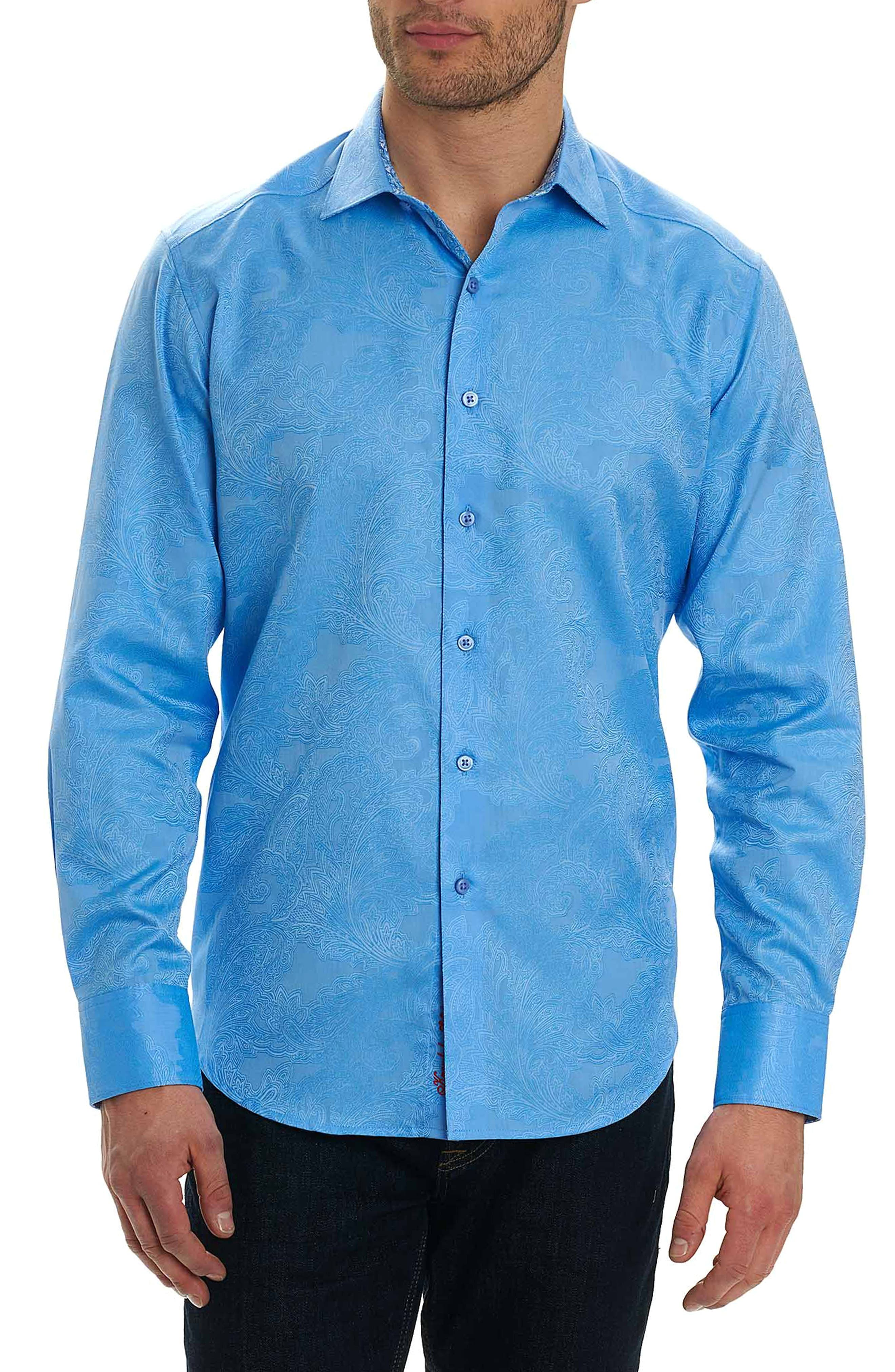 Rosendale Classic Fit Jacquard Sport Shirt,                         Main,                         color, Light Blue