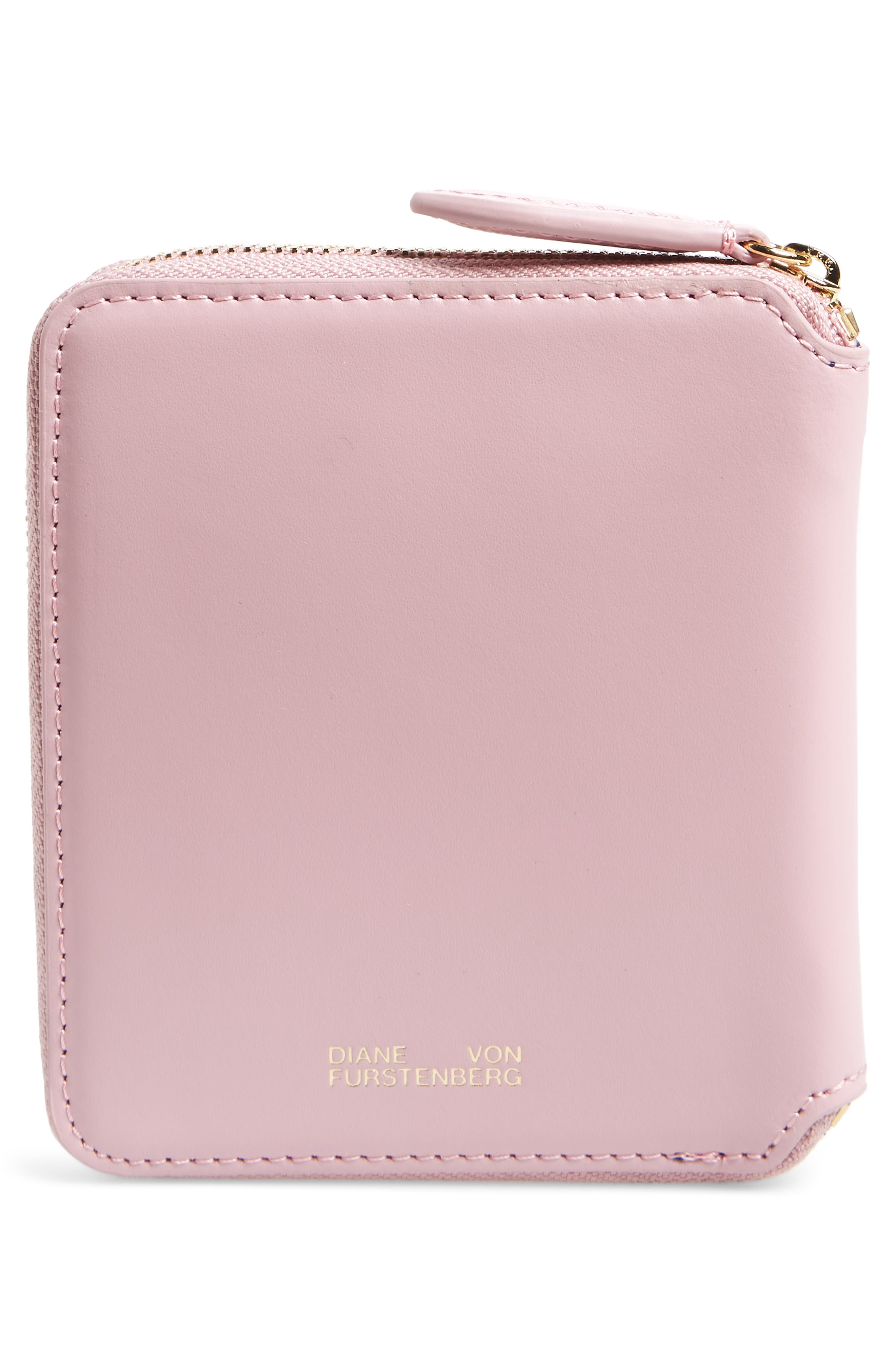 Small Za Leather Wallet,                             Alternate thumbnail 4, color,                             Pink
