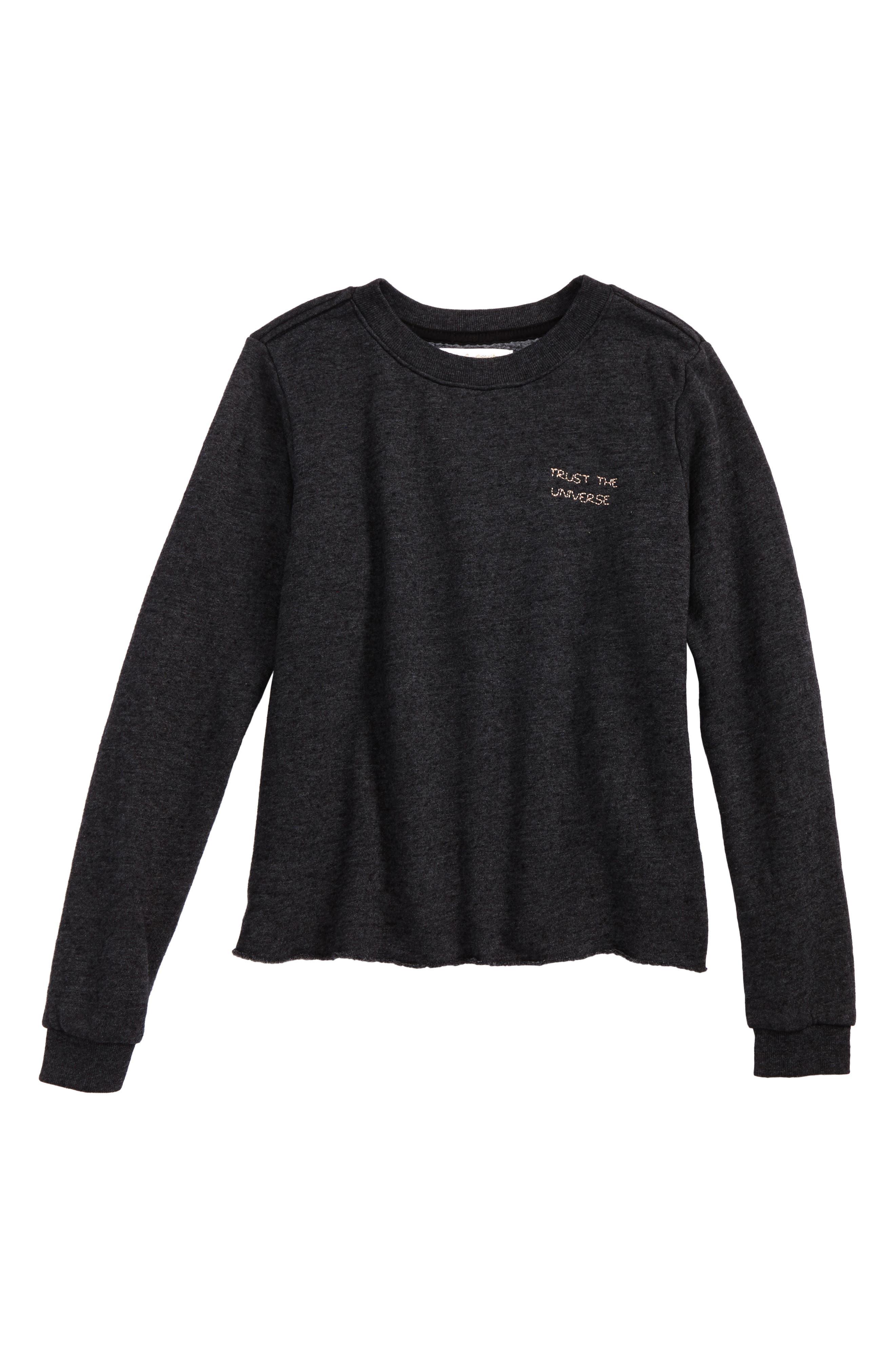 Trust the Universe Crop Sweatshirt,                         Main,                         color, Vintage Black