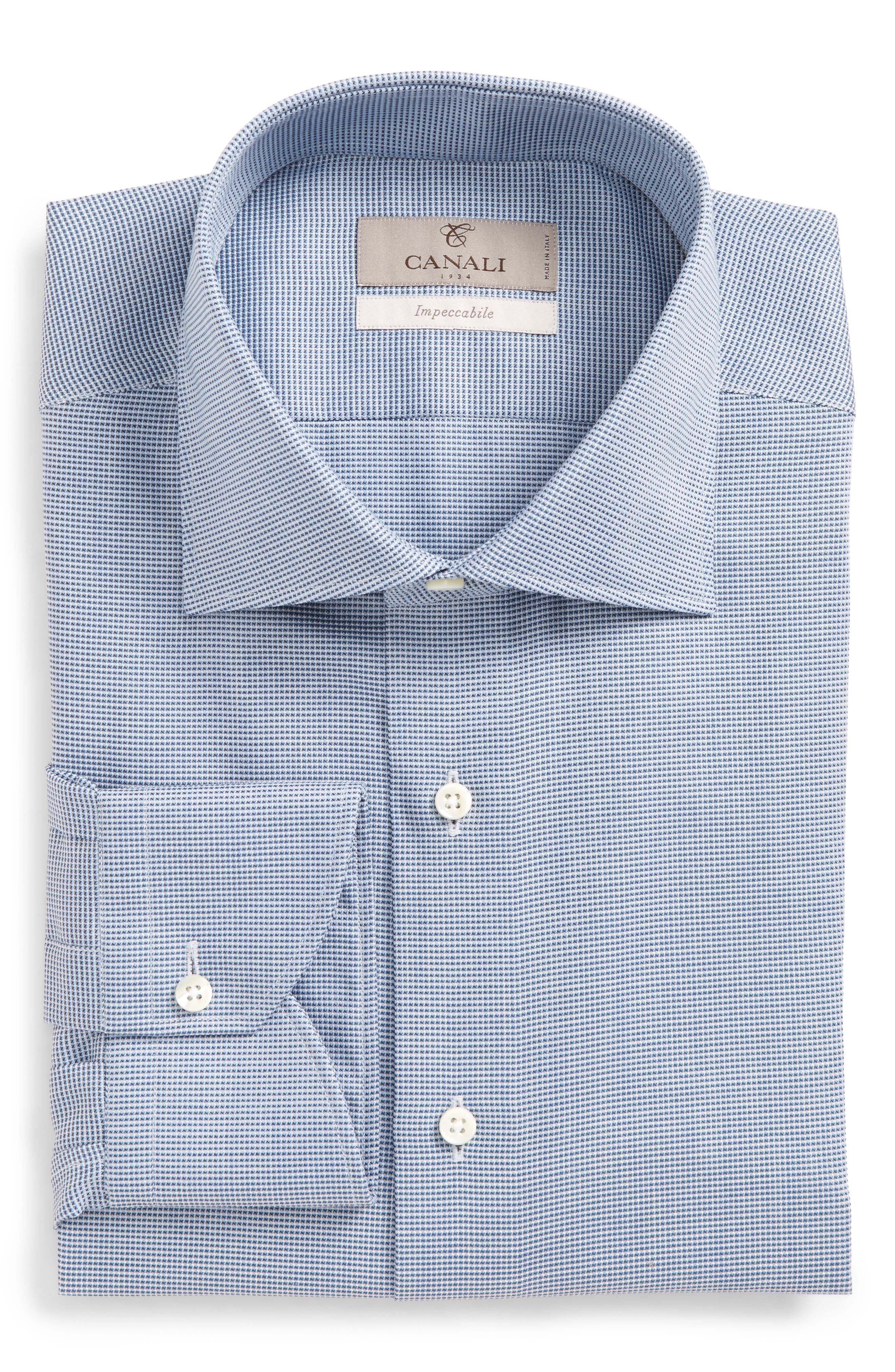 Regular Fit Solid Dress Shirt,                             Main thumbnail 1, color,                             Blue