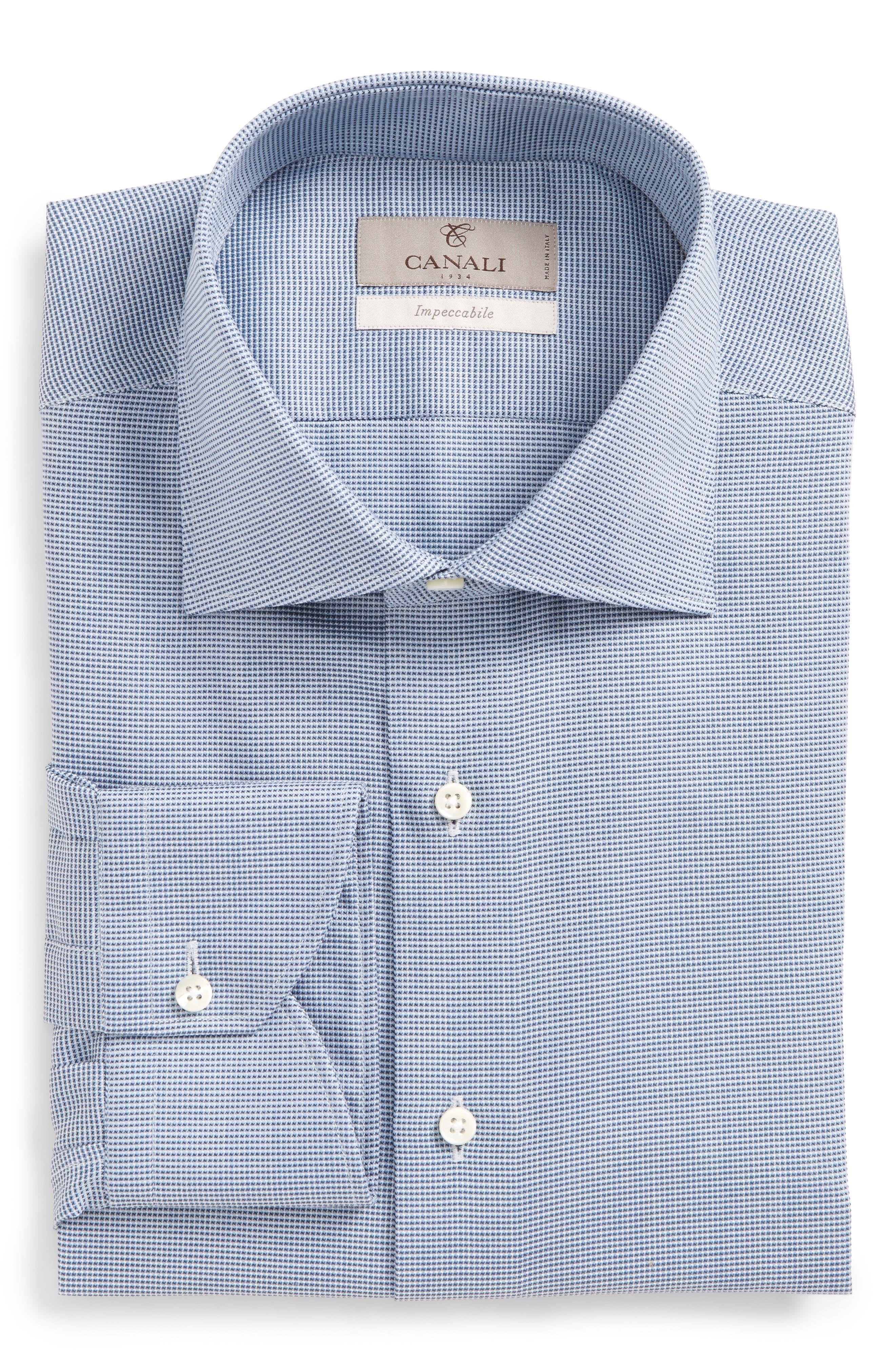 Main Image - Canali Regular Fit Solid Dress Shirt