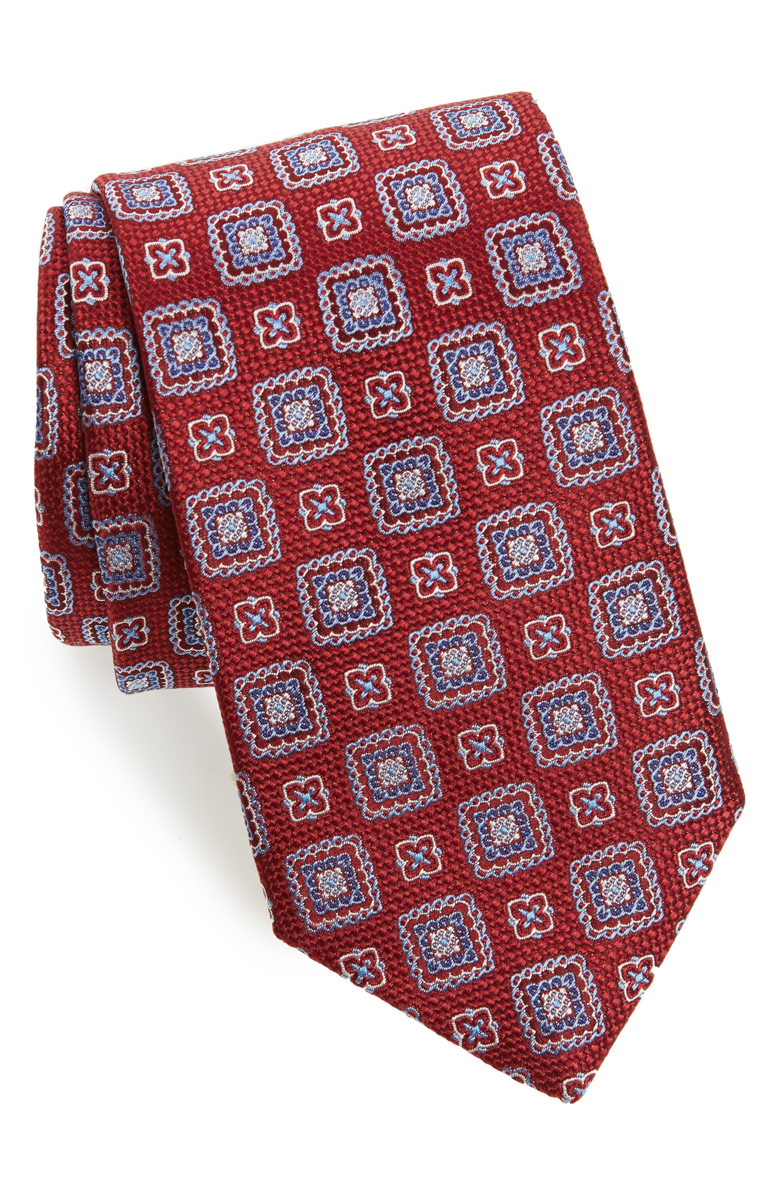 Medallion Silk Tie,                         Main,                         color, Merlot
