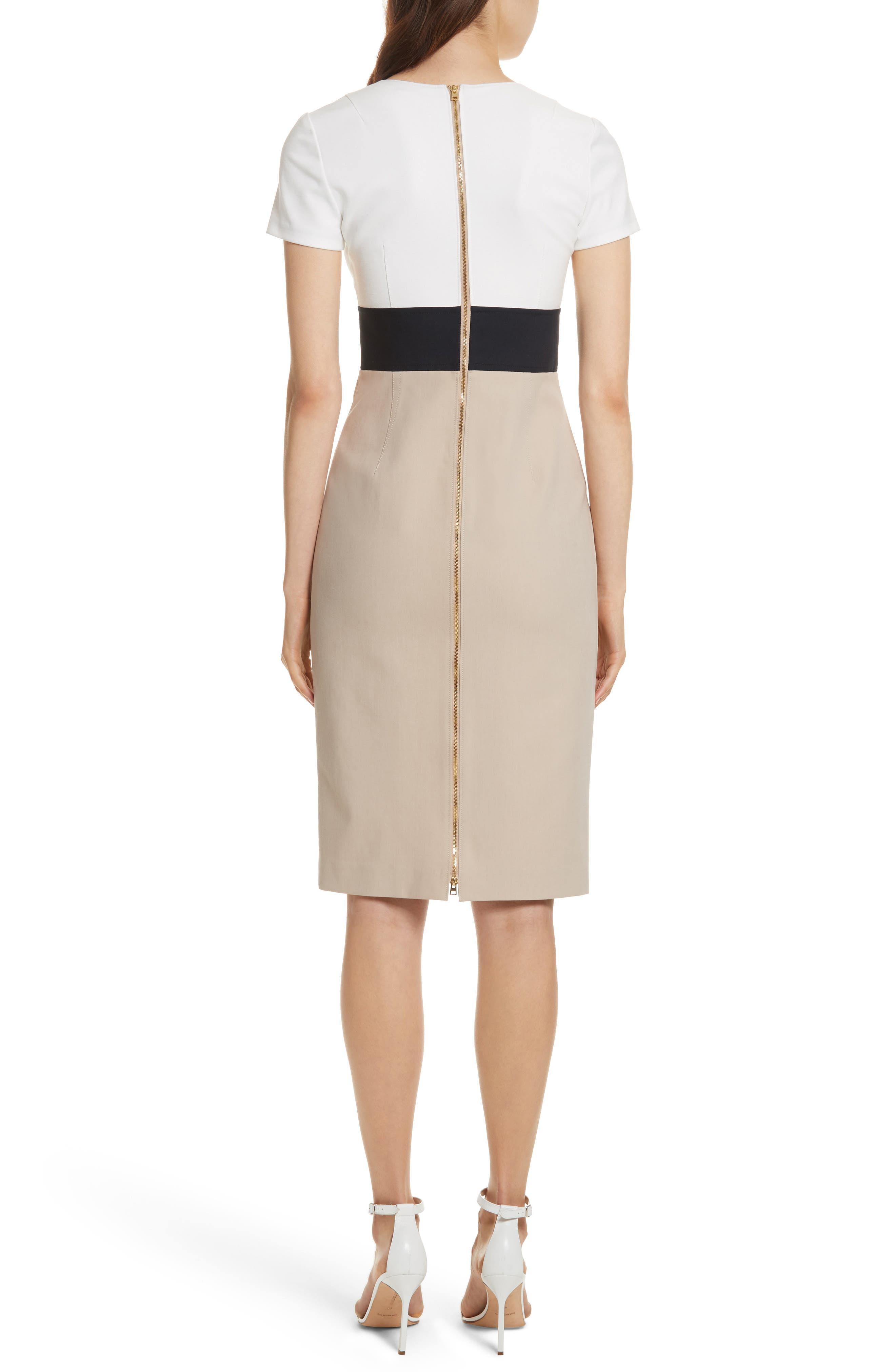 Diane von Furstenberg Colorblock Stretch Cotton Blend Sheath Dress,                             Alternate thumbnail 2, color,                             Sand/ Alexander Navy/ White