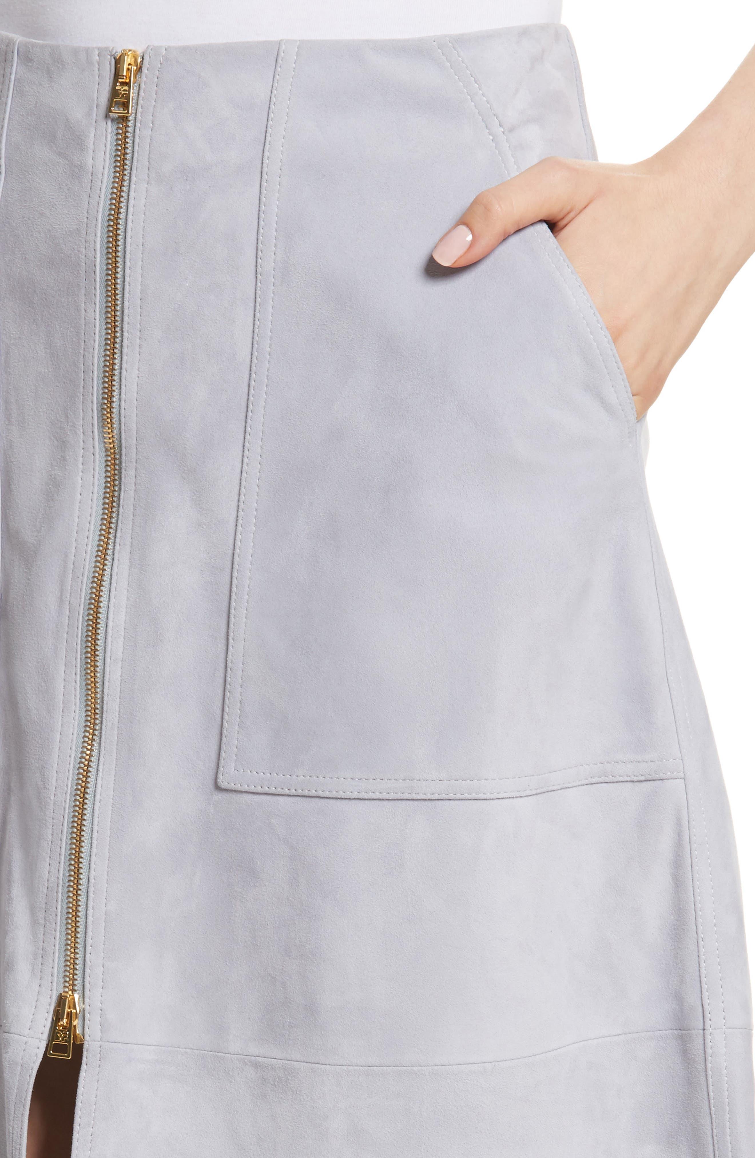 Diane von Furstenberg Patch Pocket Suede Midi Skirt,                             Alternate thumbnail 4, color,                             Smoke