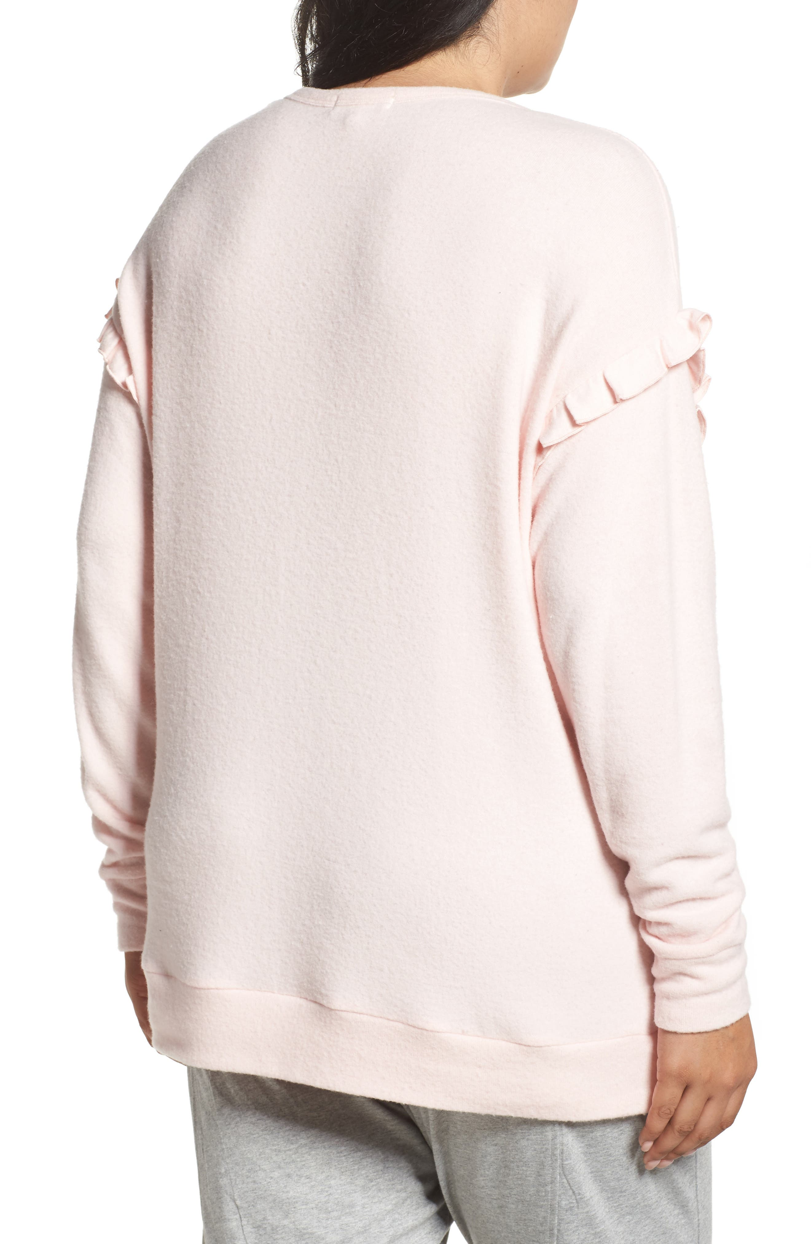 Alternate Image 2  - PJ Salvage Ruffled Peachy Jersey Crewneck Top (Plus Size)
