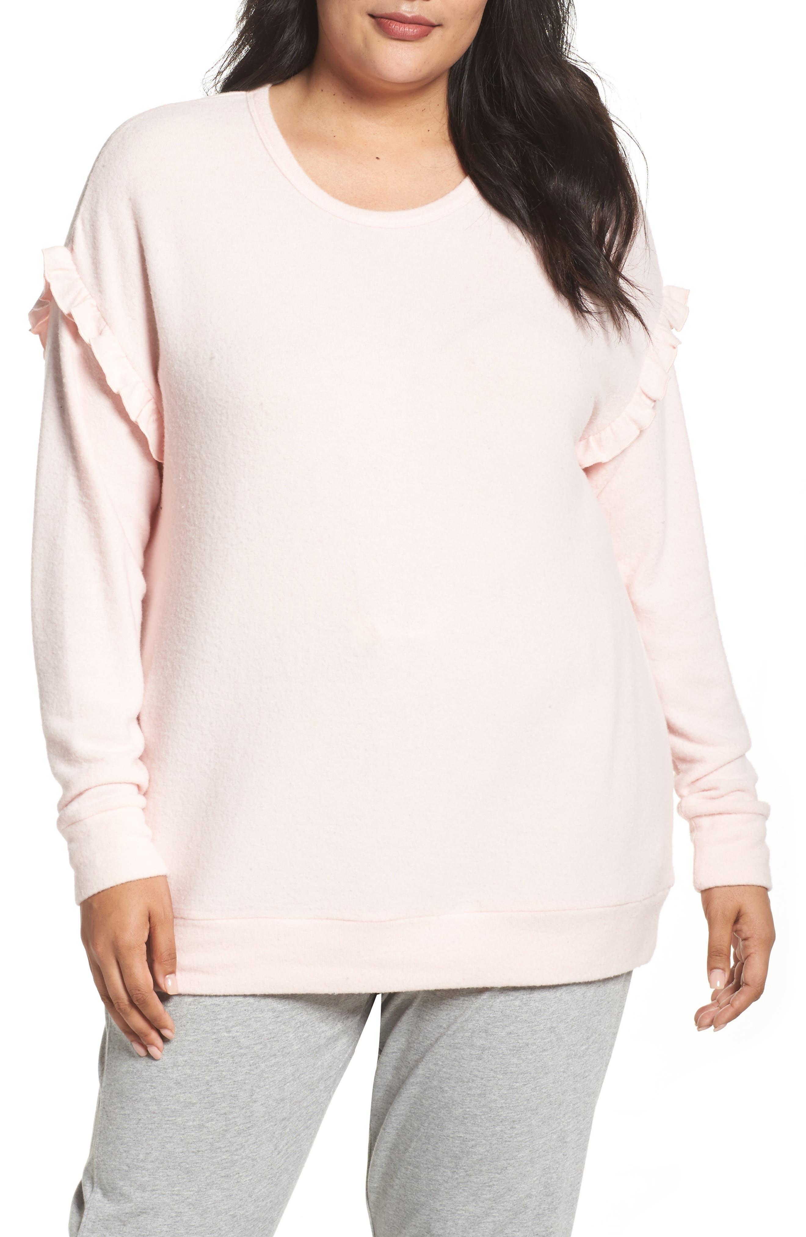 Ruffled Peachy Jersey Crewneck Top,                         Main,                         color, Blush