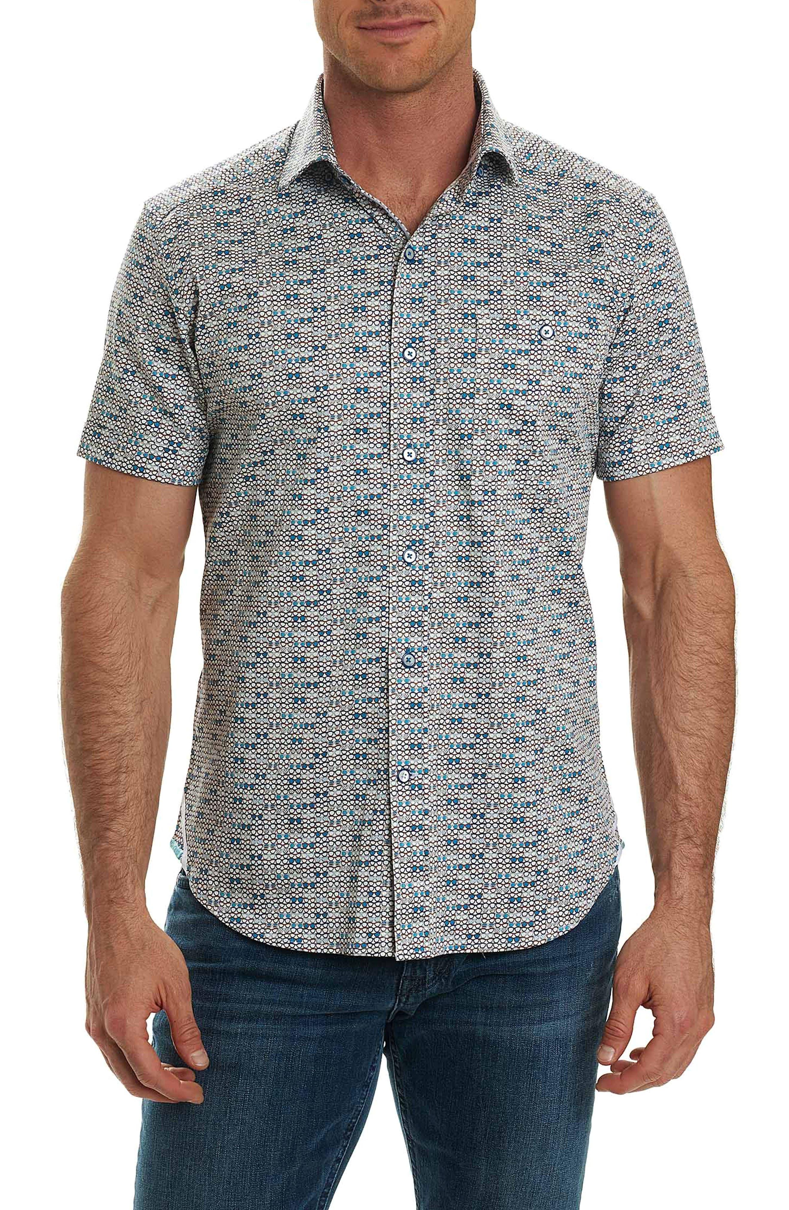 Colton Print Sport Shirt,                         Main,                         color, White