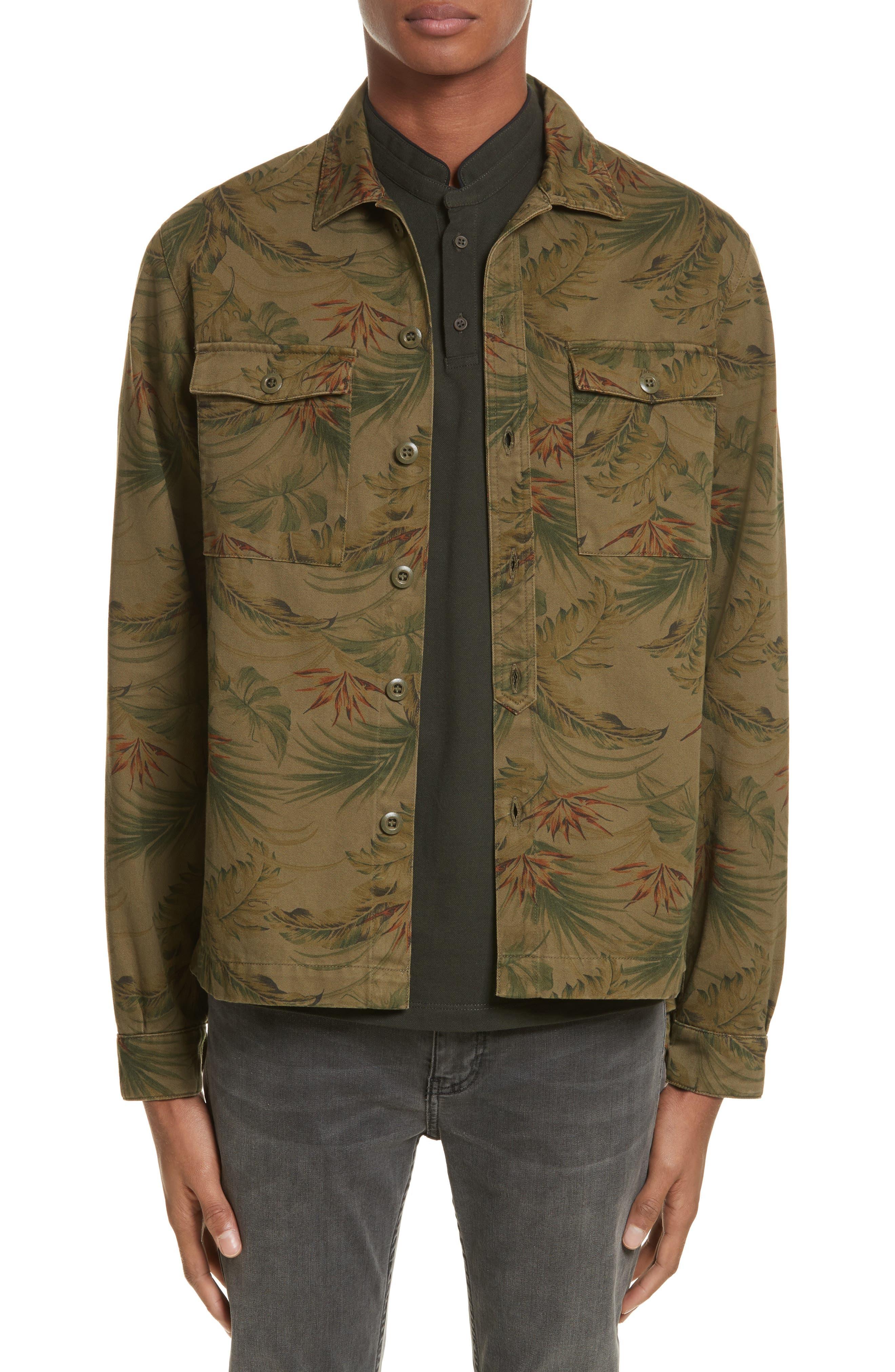 Flower Denim Jacket,                         Main,                         color, Khaki