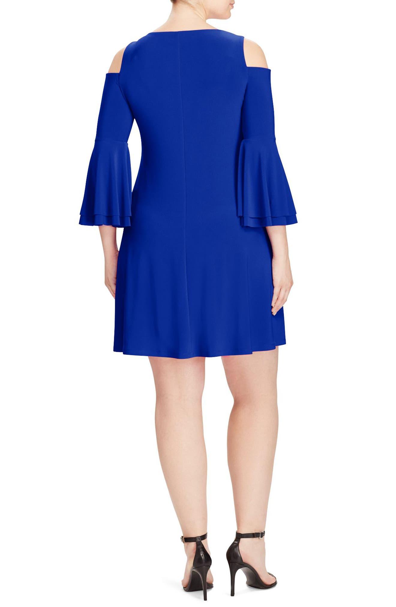 Alternate Image 2  - Lauren Ralph Lauren Cold Shoulder Bell Sleeve Jersey Dress (Plus Size)