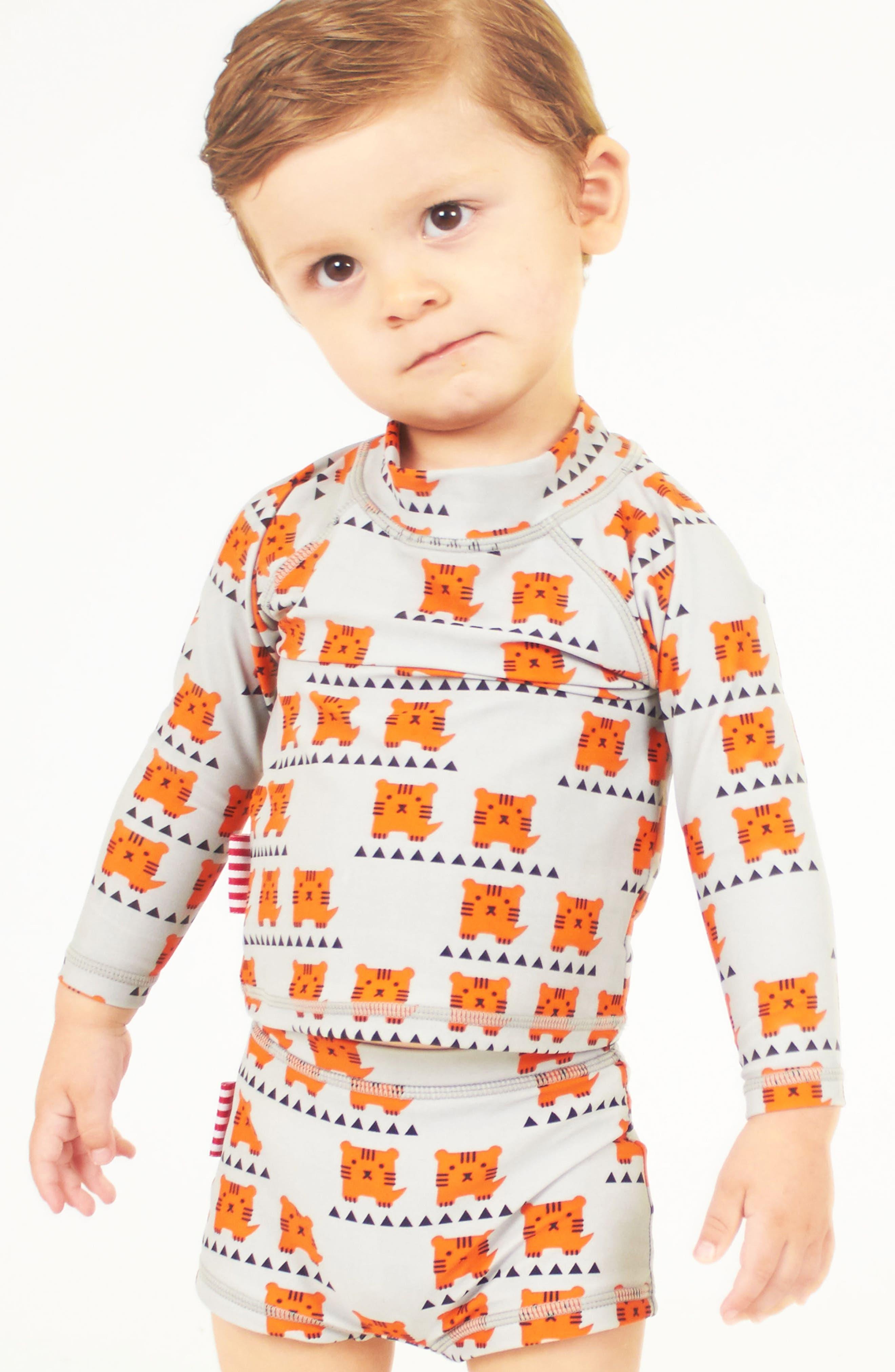 Alternate Image 3  - SOOKIbaby Cub In The Hub Two-Piece Rashguard Swimsuit (Baby Boys)