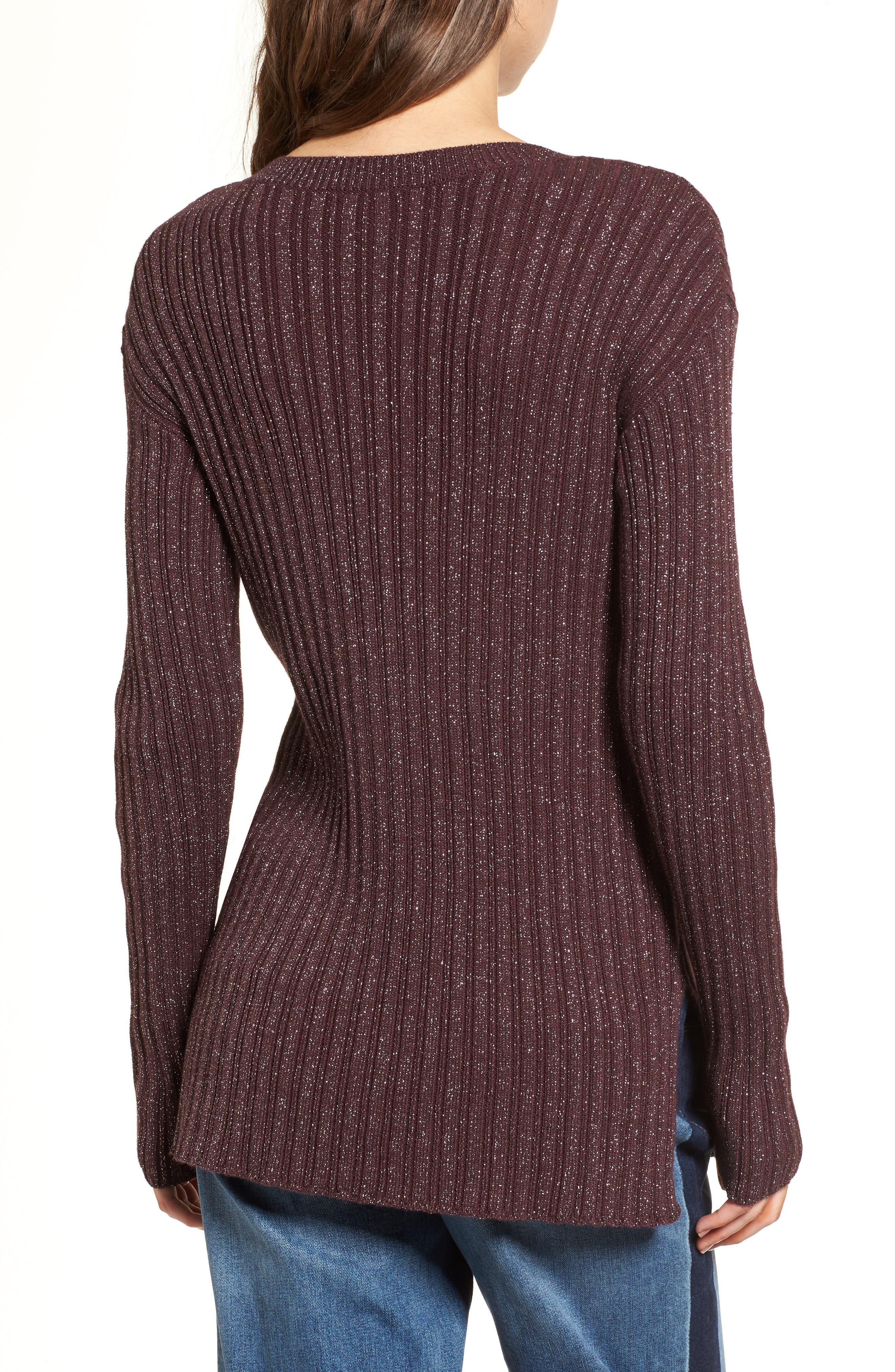 Metallic Ribbed Sweater,                             Alternate thumbnail 2, color,                             Burgundy Silver Combo