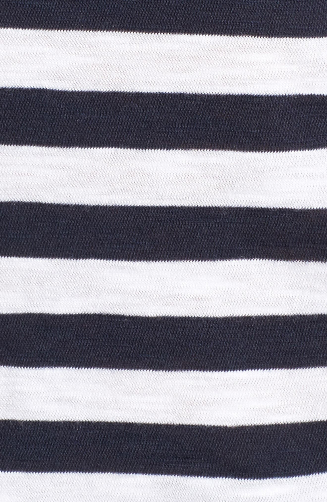 Stripe Ruffle Off the Shoulder Tee,                             Alternate thumbnail 5, color,                             Navy Peacoat Marie Stripe