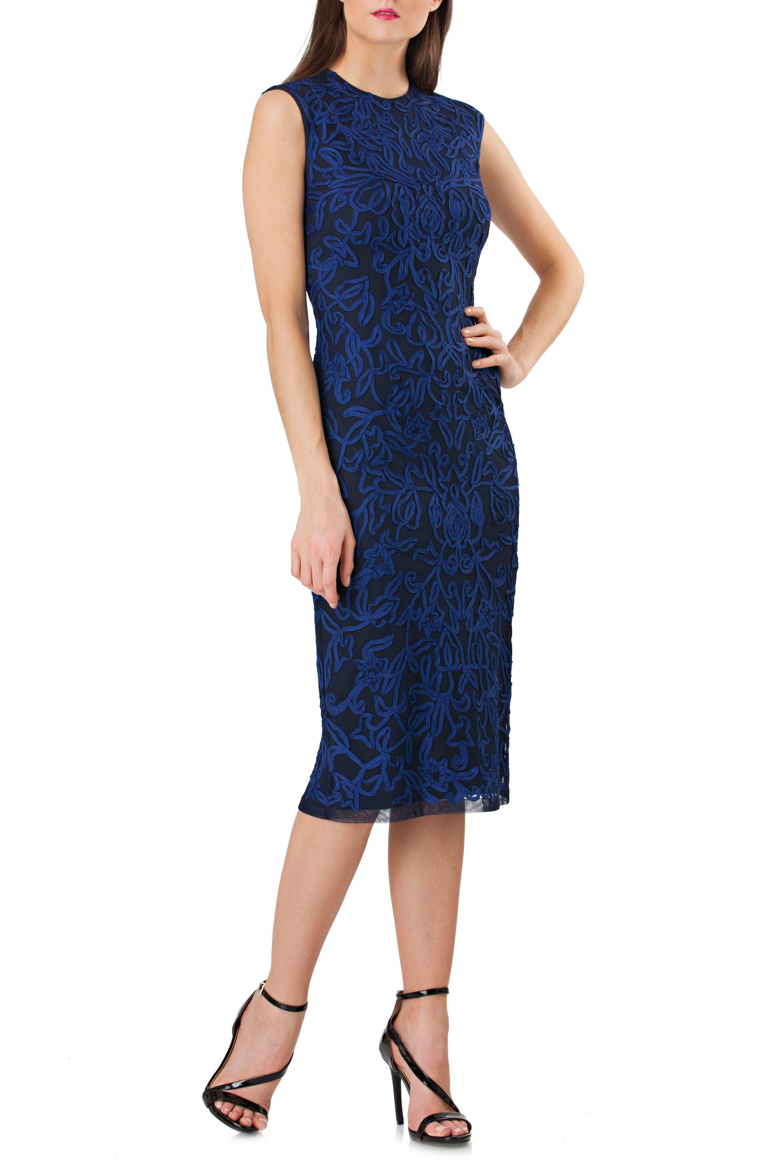 Soutache Midi Dress,                         Main,                         color, Electric Blue/ Navy