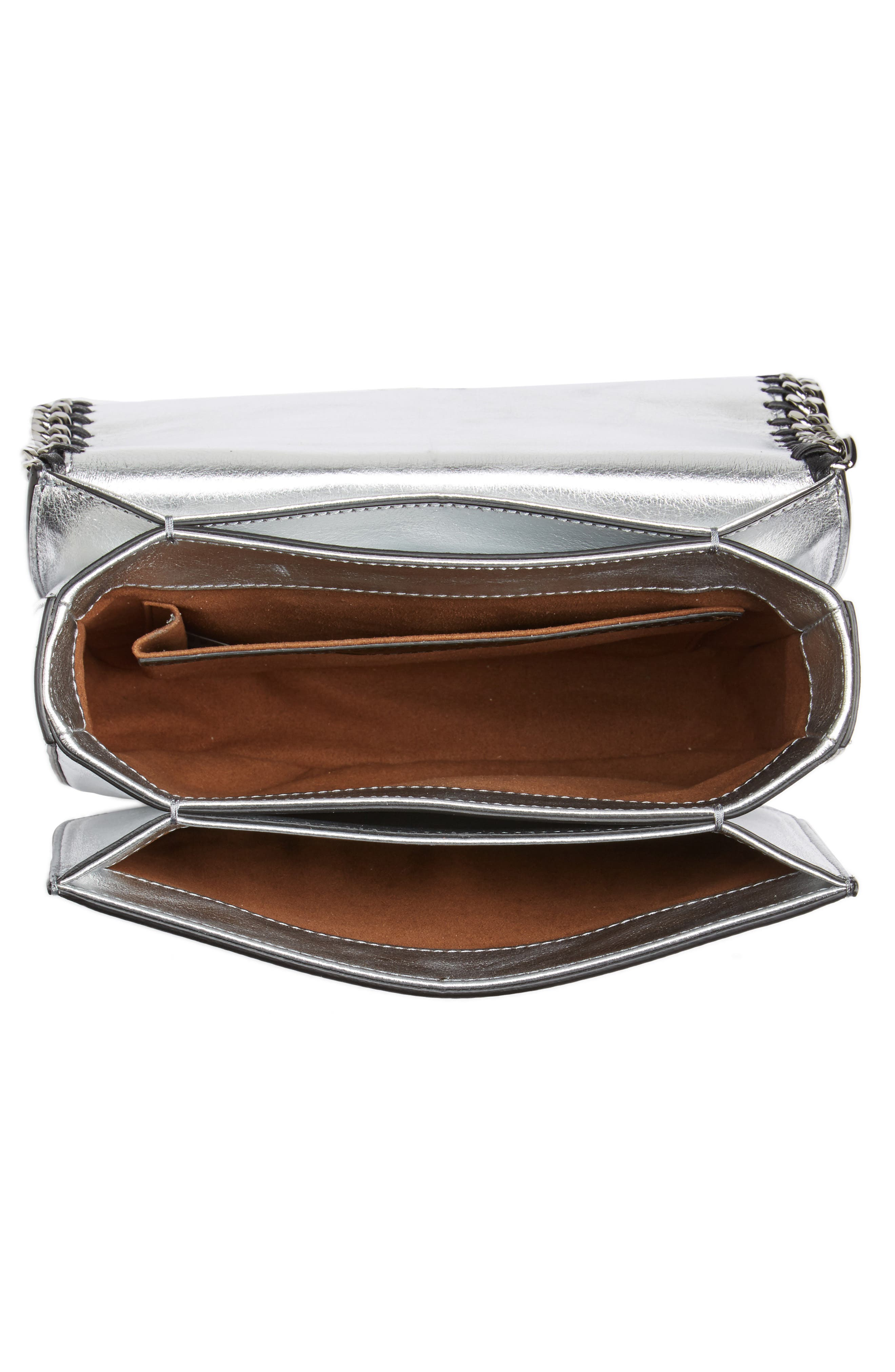 Falabella Star Cutout Metallic Faux Leather Shoulder Bag,                             Alternate thumbnail 4, color,                             Silver