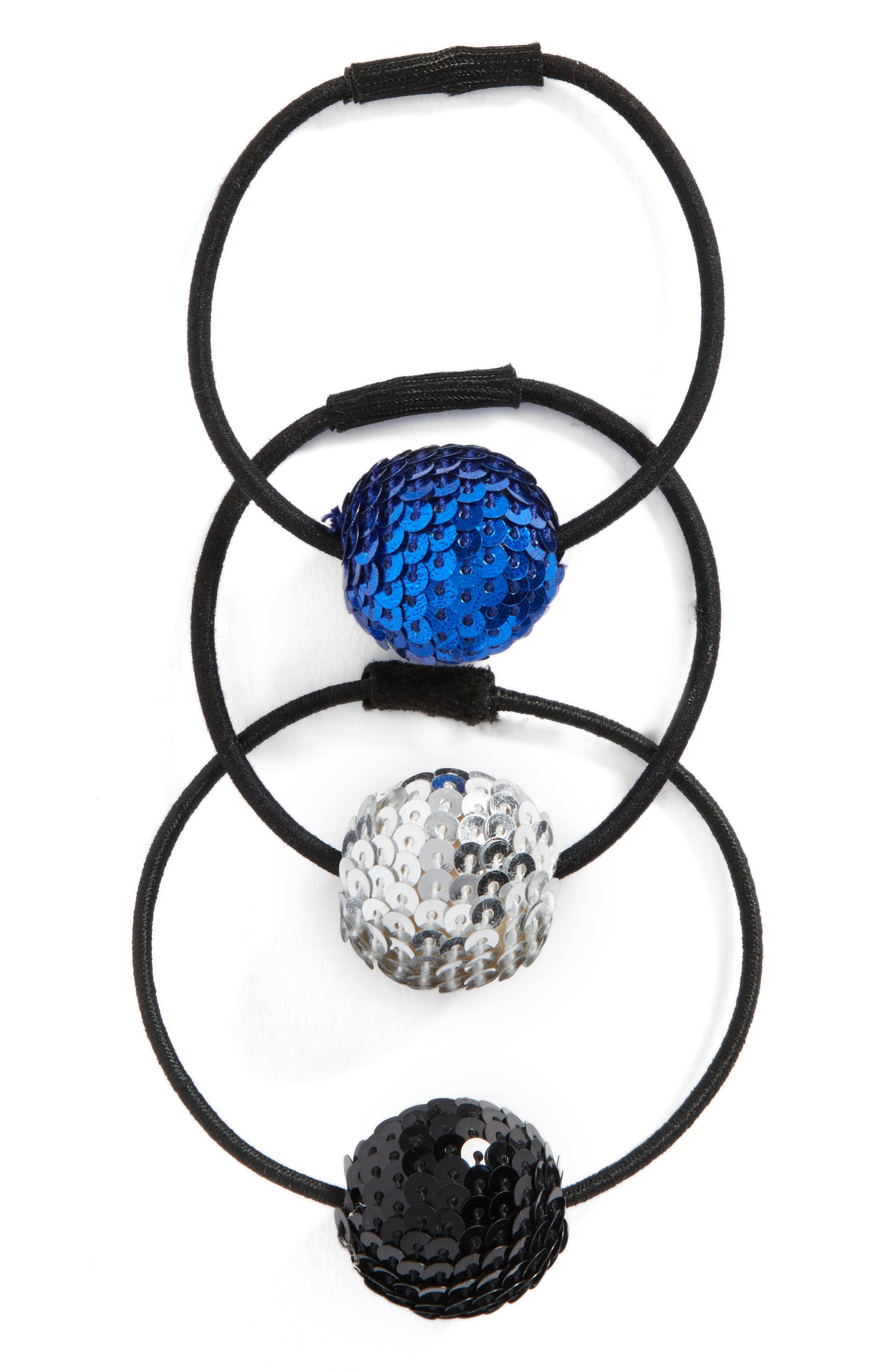3-Pack Sequin Disco Ball Pony Holders,                             Main thumbnail 1, color,                             Black Multi