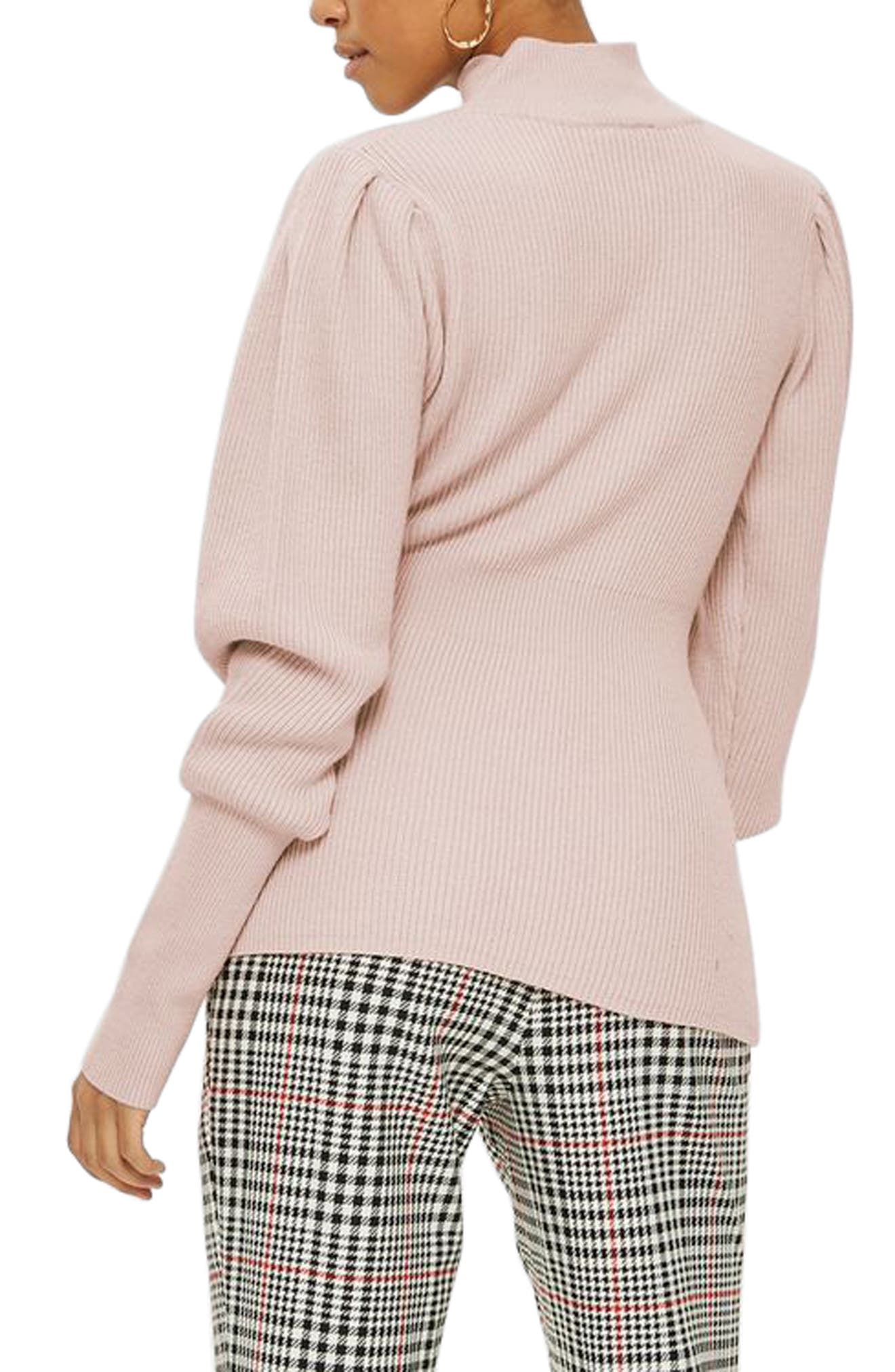 Puff Sleeve Funnel Neck Sweater,                             Alternate thumbnail 2, color,                             Blush
