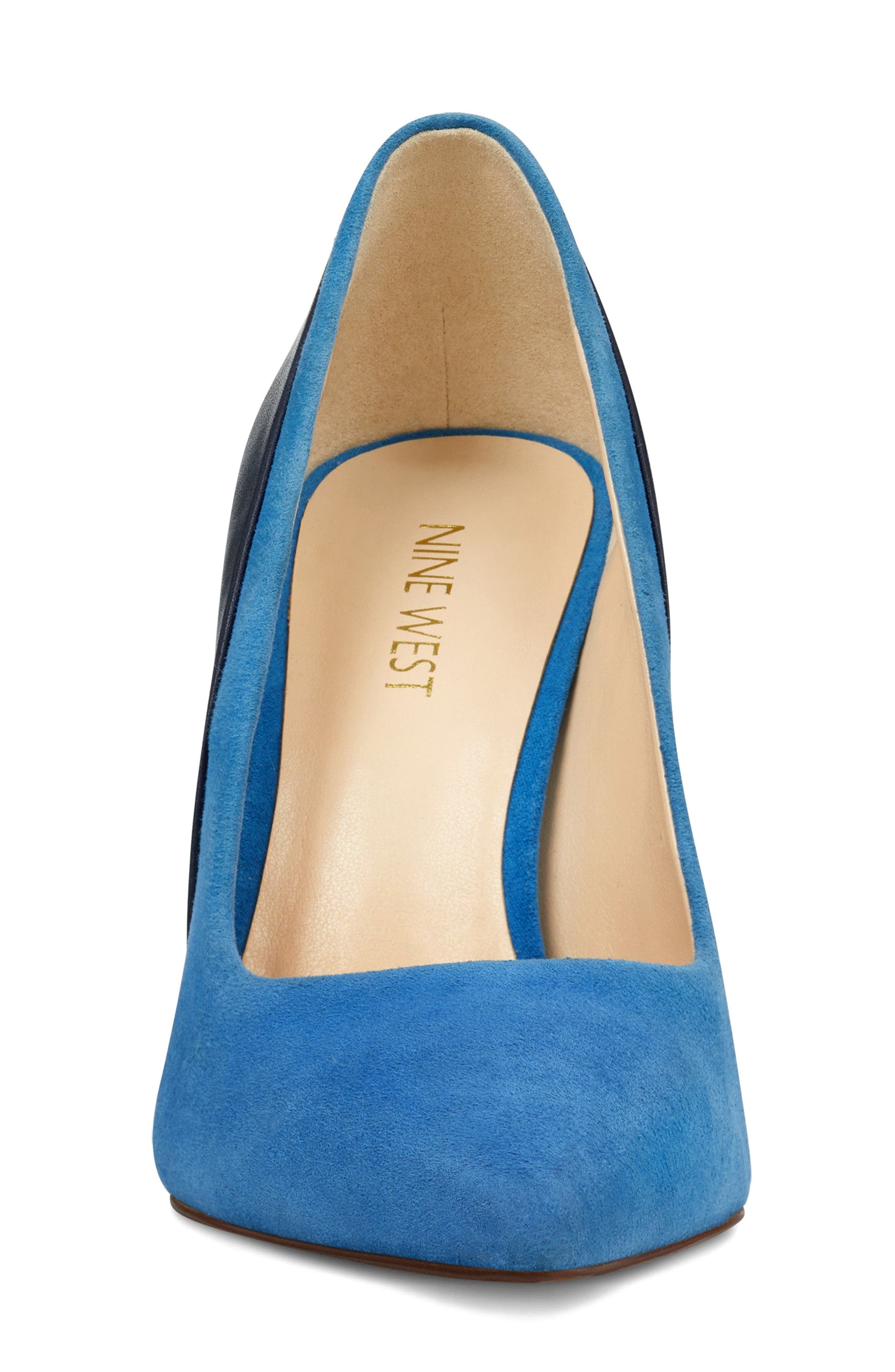Taymra Pointy Toe Pump,                             Alternate thumbnail 4, color,                             Blue/ Navy Suede