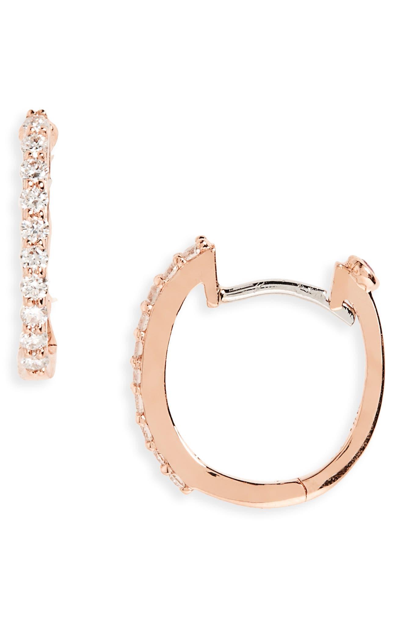 Small Diamond Hoop Earrings,                             Main thumbnail 1, color,                             Rose Rold