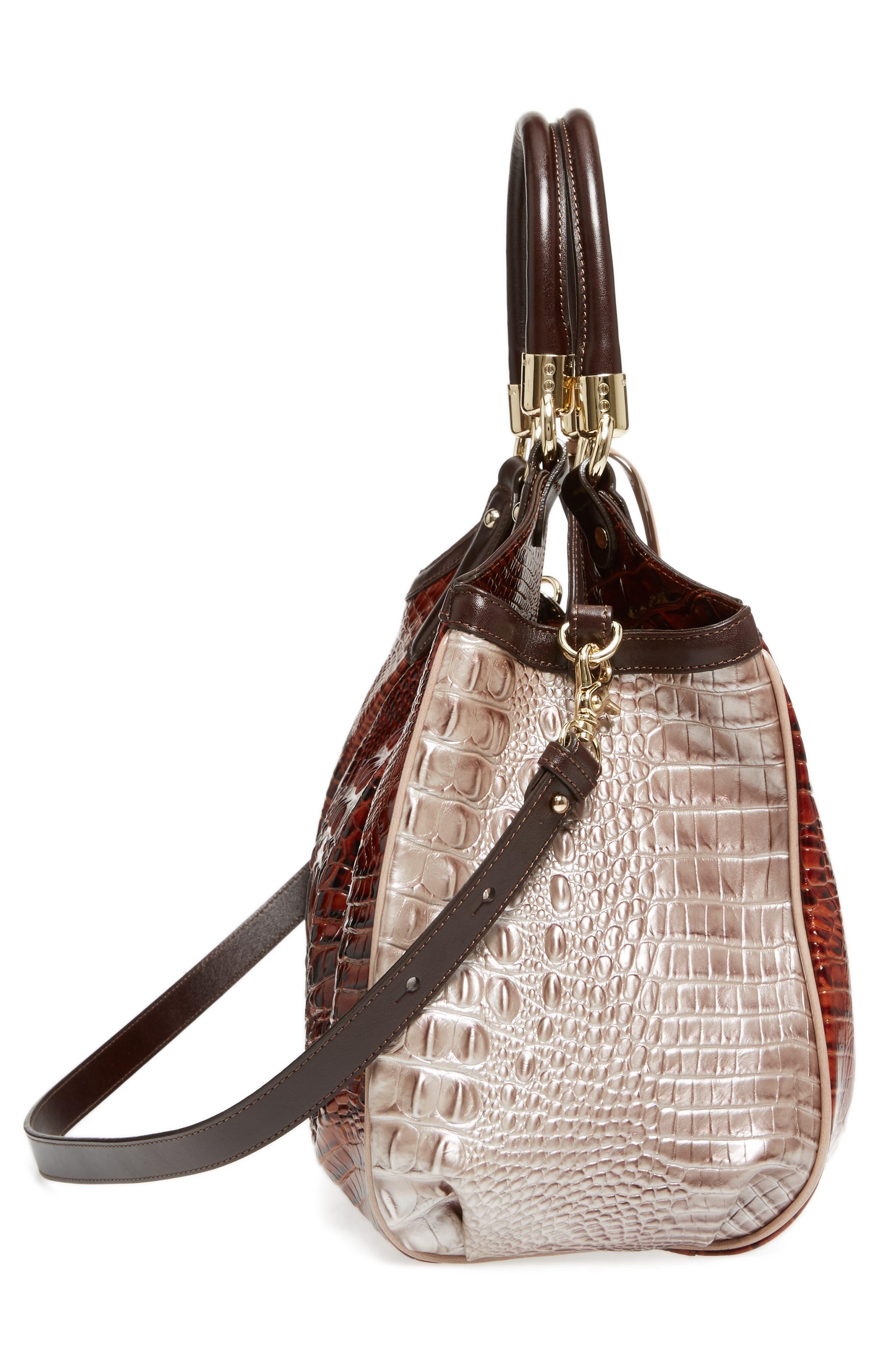 Elisa Croc Embossed Leather Shoulder Bag,                             Alternate thumbnail 5, color,                             Pecan