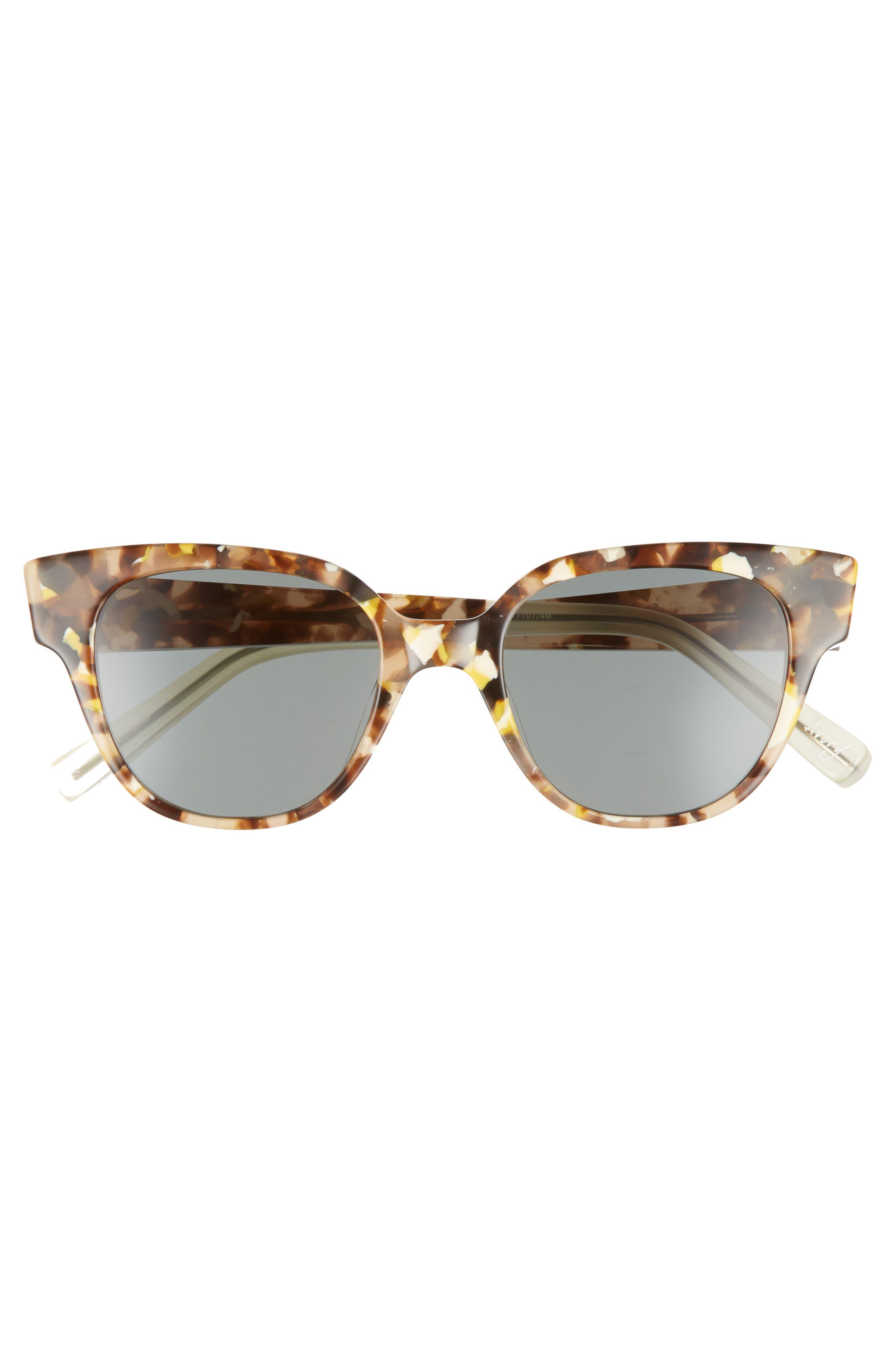 Avory 49mm Cat Eye Sunglasses,                             Alternate thumbnail 3, color,                             Amber/ Green