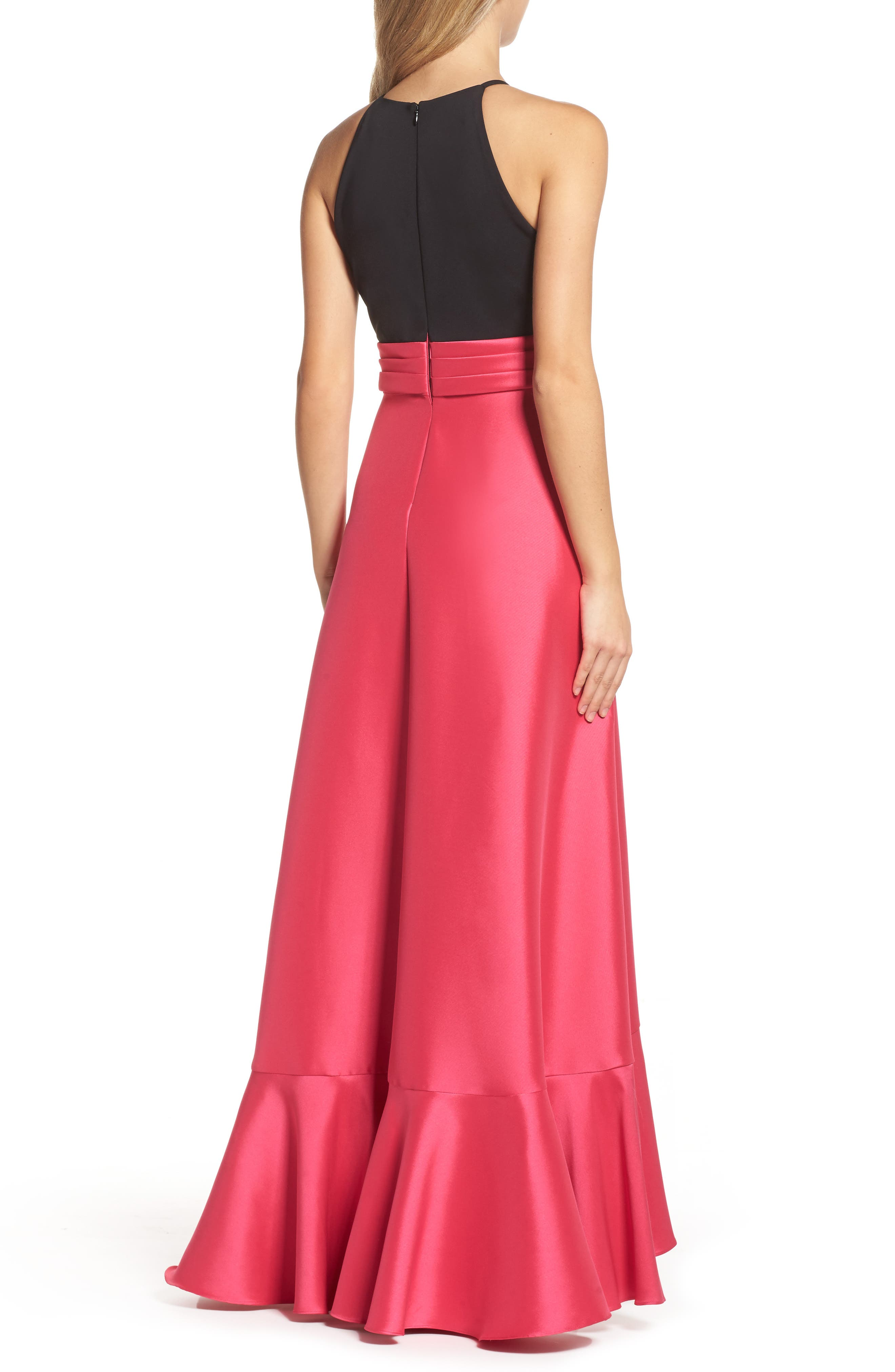 Two-Tone Ruffle Gown,                             Alternate thumbnail 2, color,                             Black Raspberry