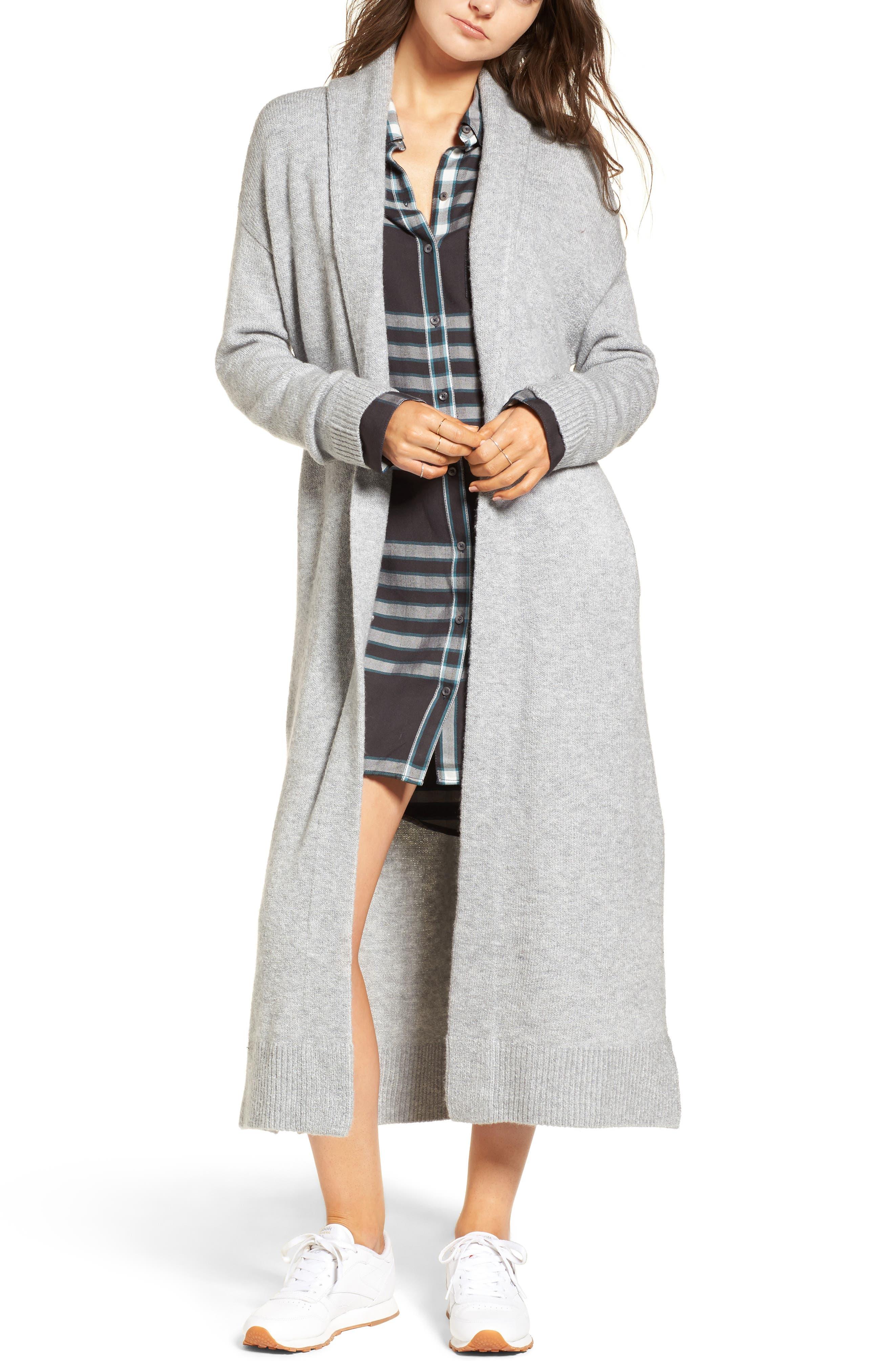 Longline Cardigan,                         Main,                         color, Grey Heather