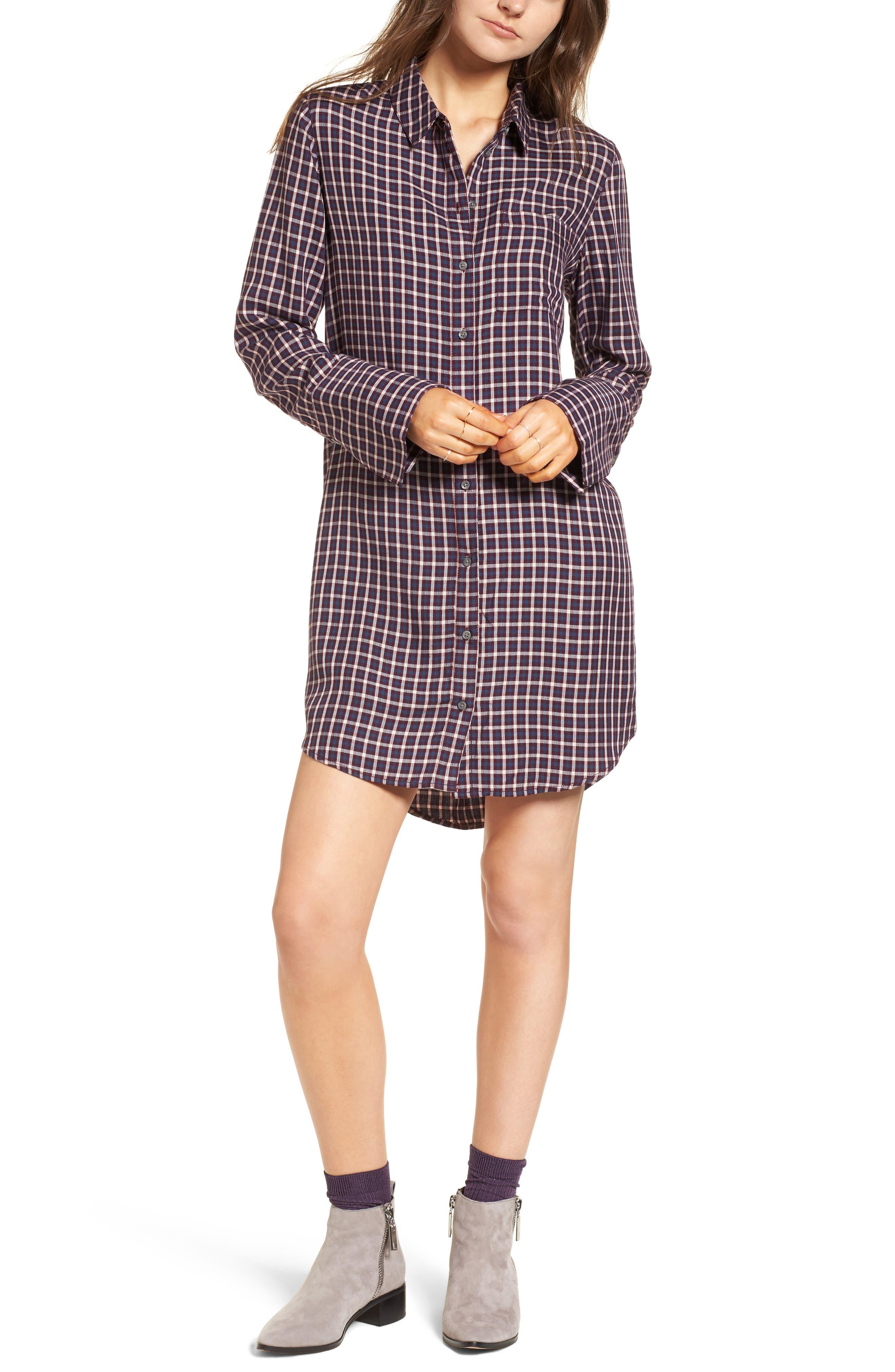Plaid Shirtdress,                             Main thumbnail 1, color,                             Burgundy Fig Hound Gingham