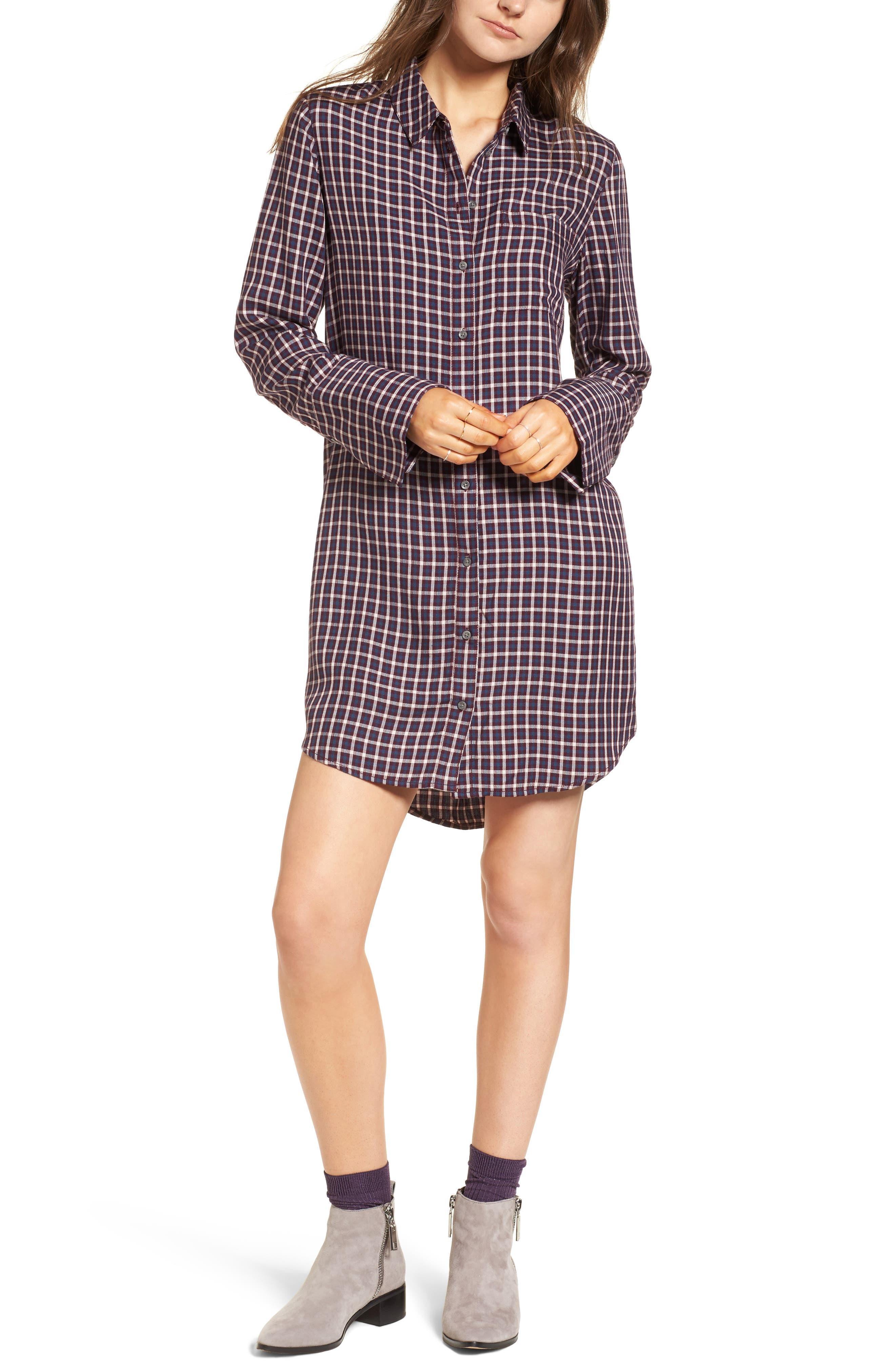 Plaid Shirtdress,                         Main,                         color, Burgundy Fig Hound Gingham